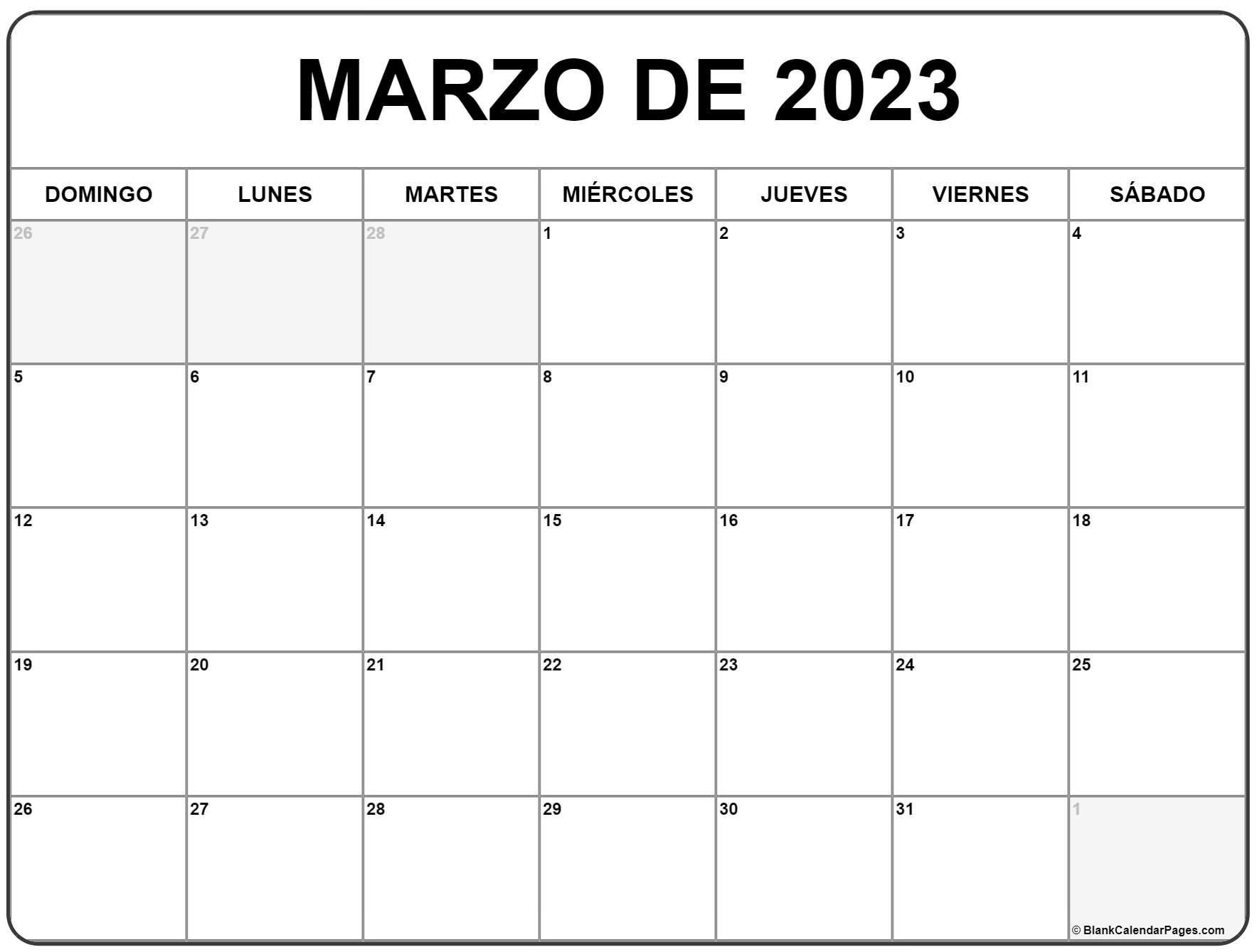 marzo de 2023 calendrario