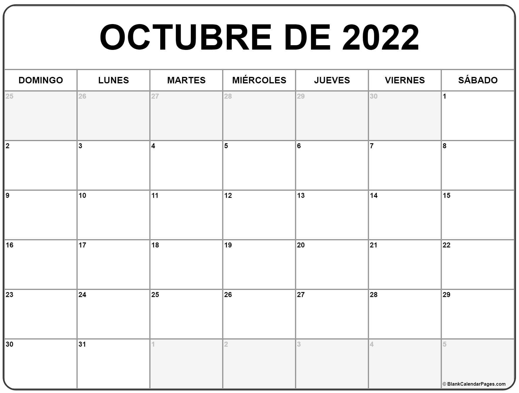 octubre de 2022 calendrario