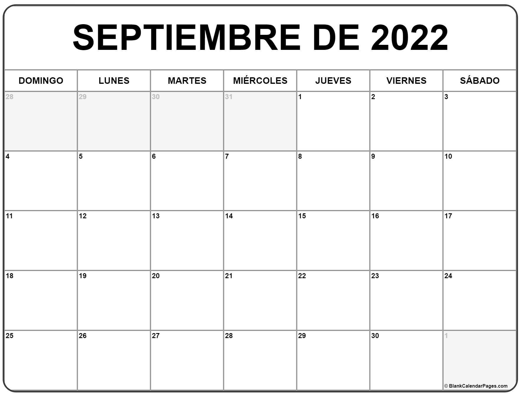 septiembre de 2022 calendario gratis