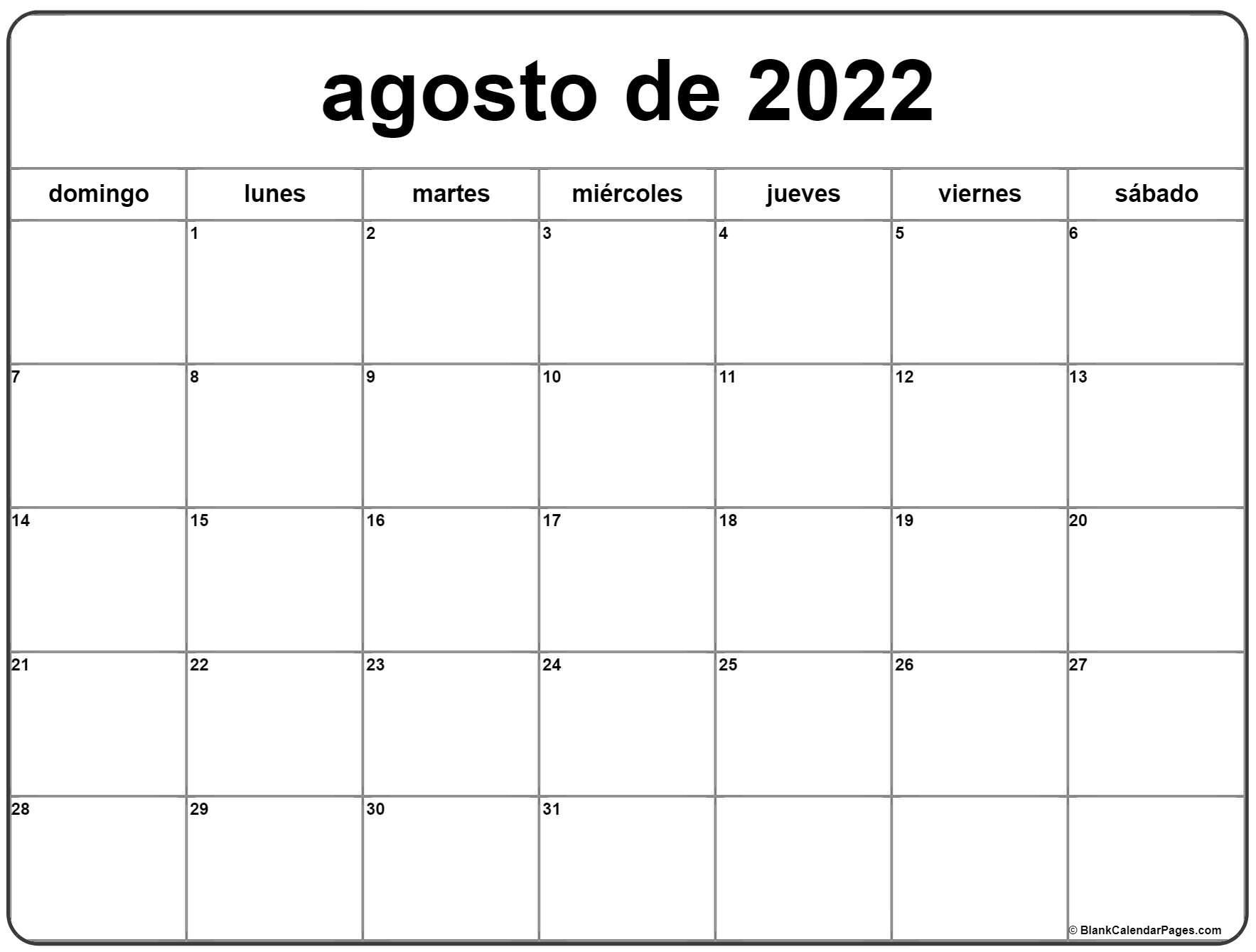 agosto de 2022 calendrario