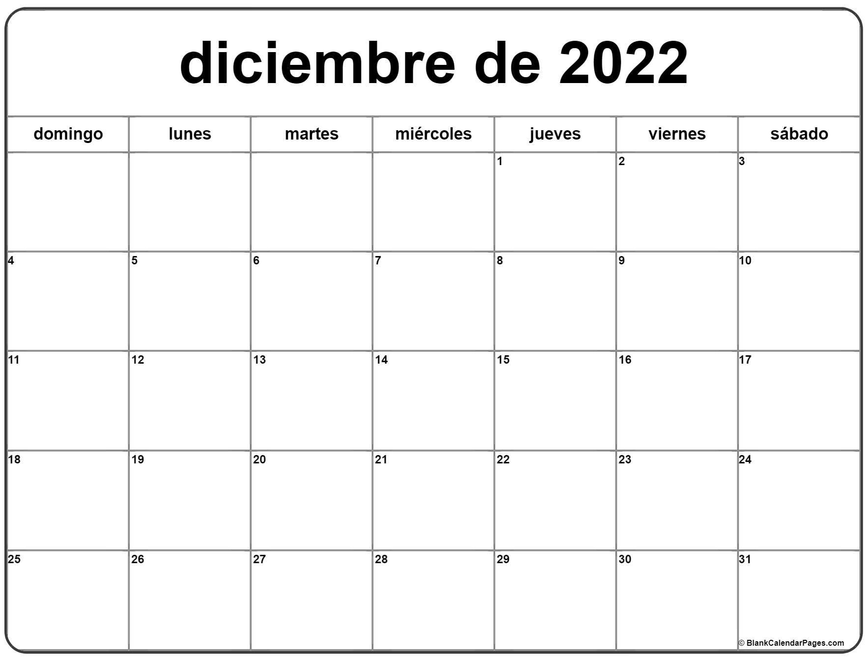 diciembre de 2022 calendrario