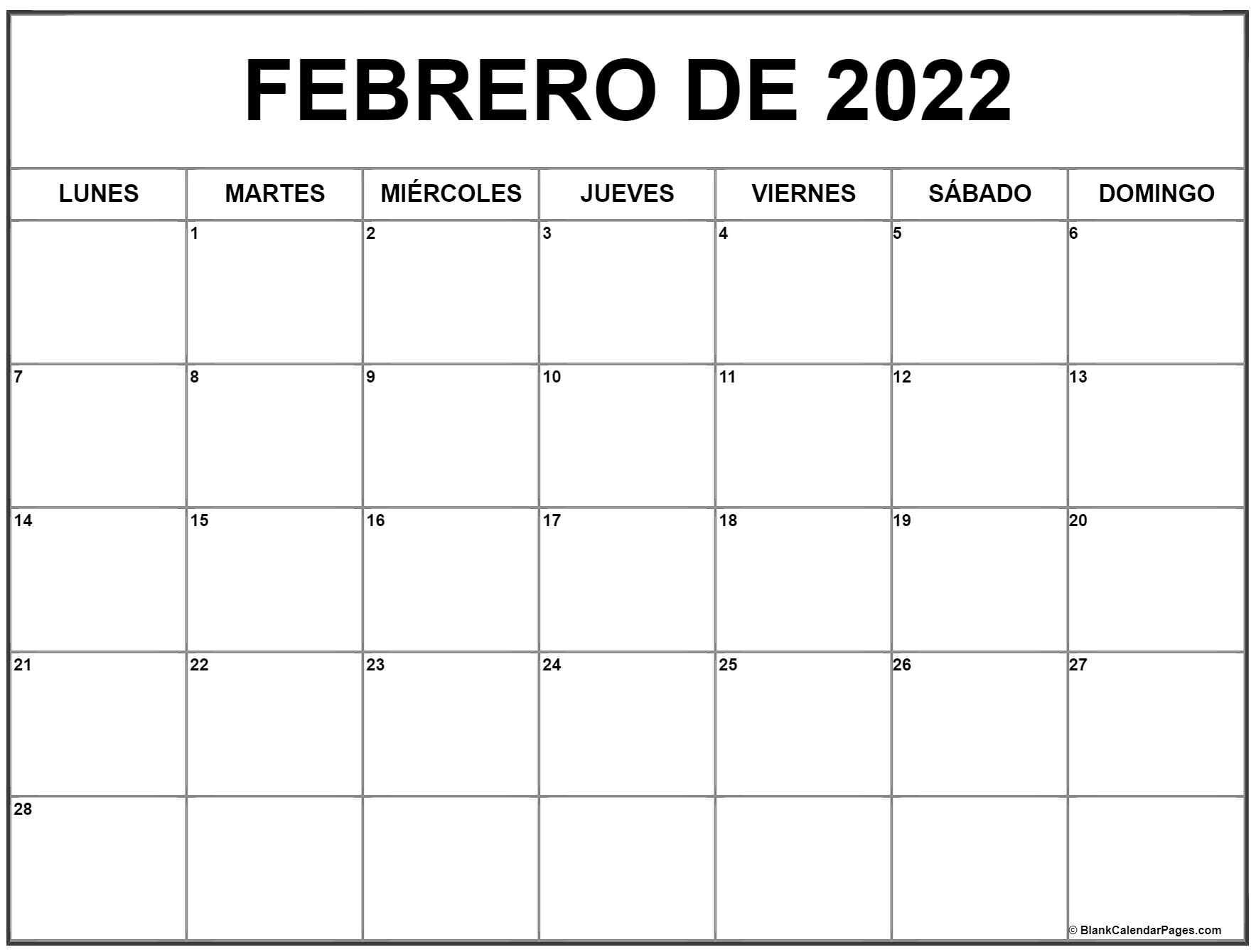 febrero de 2020 calendrario