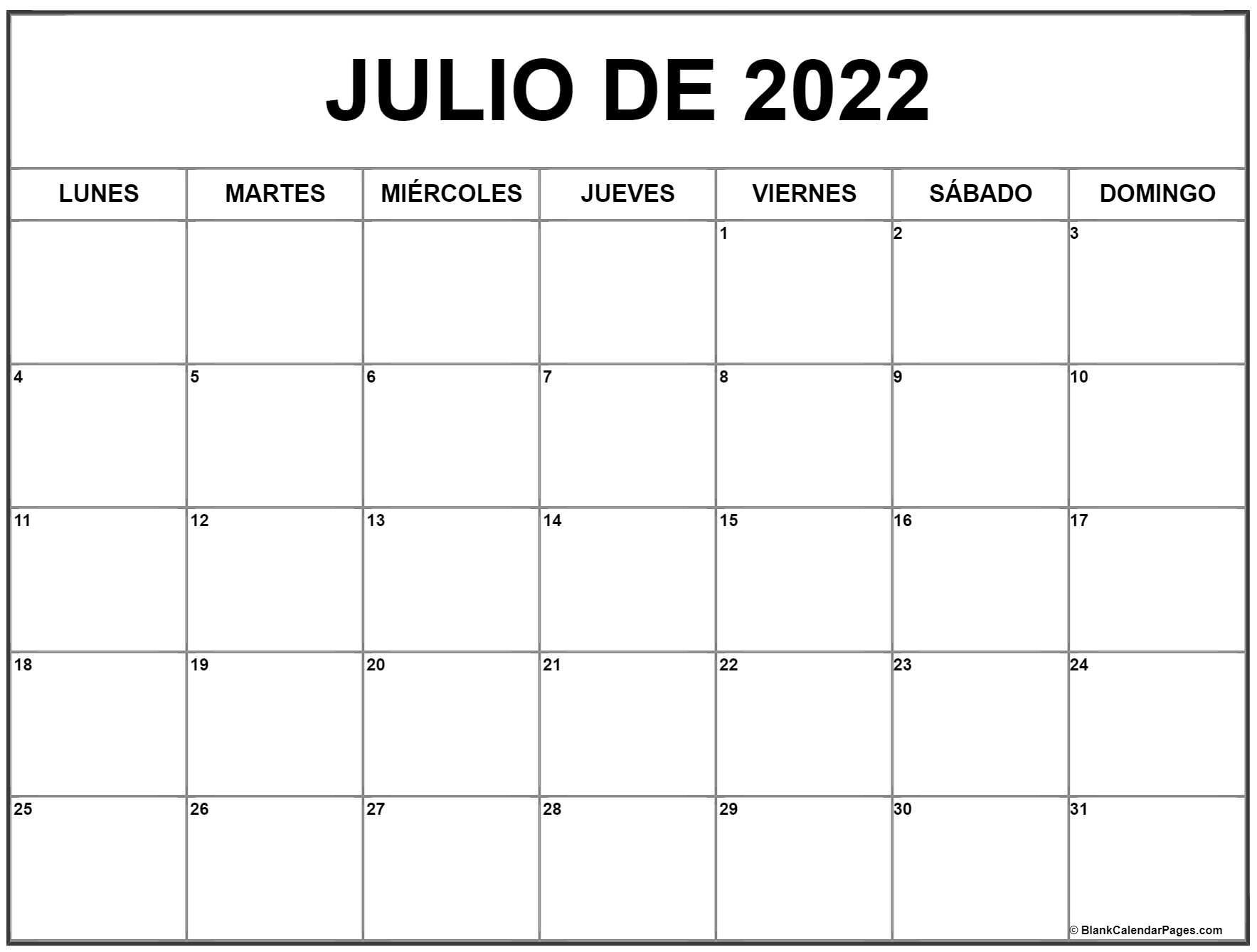 julio de 2020 calendrario
