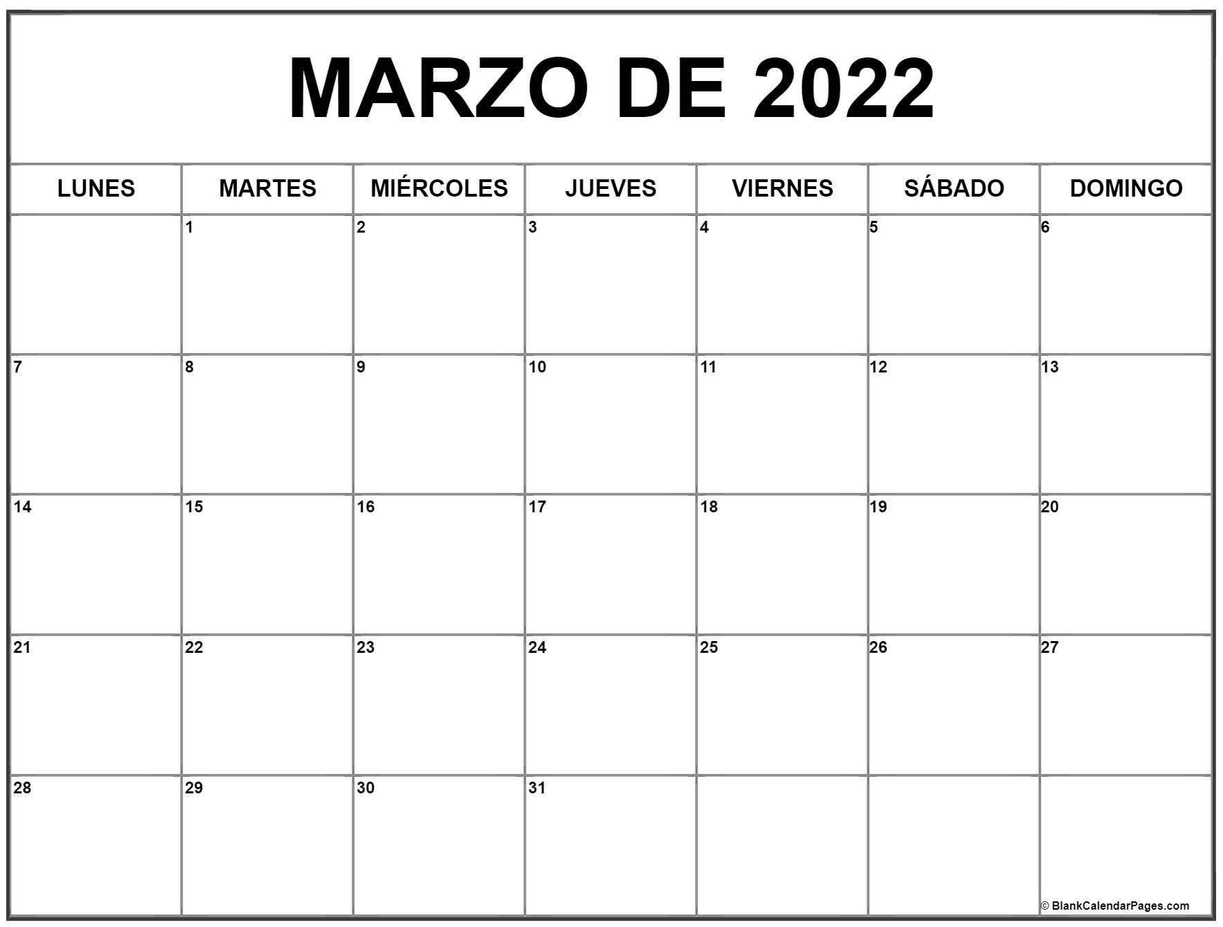 marzo de 2022 calendrario