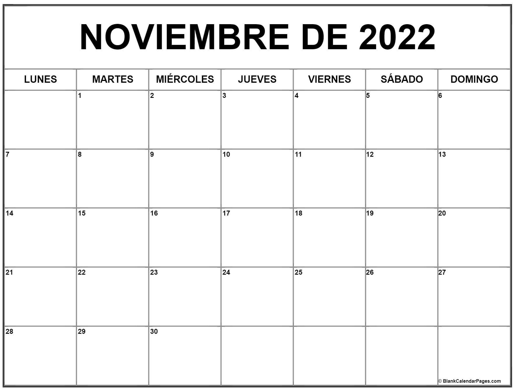 noviembre de 2022 calendrario