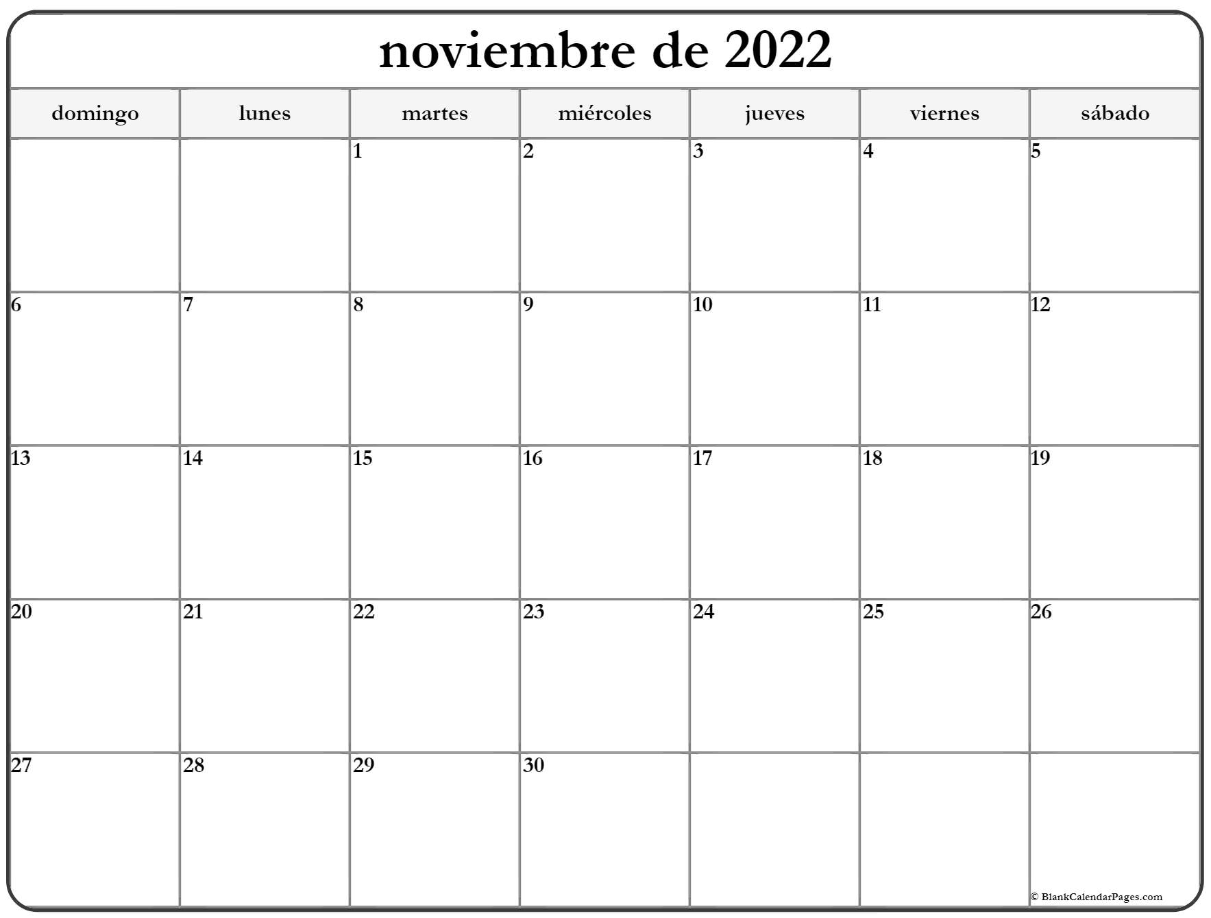 noviembre de 2020 calendrario