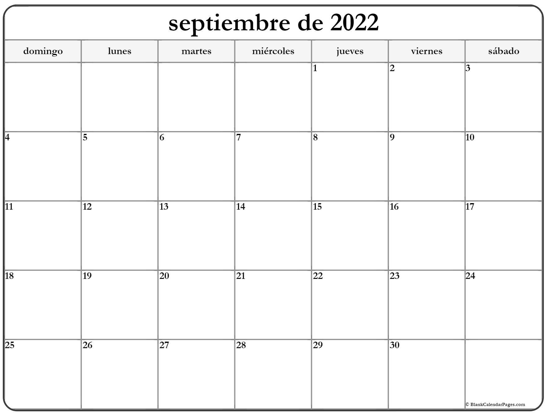 septiembre de 2022 calendrario