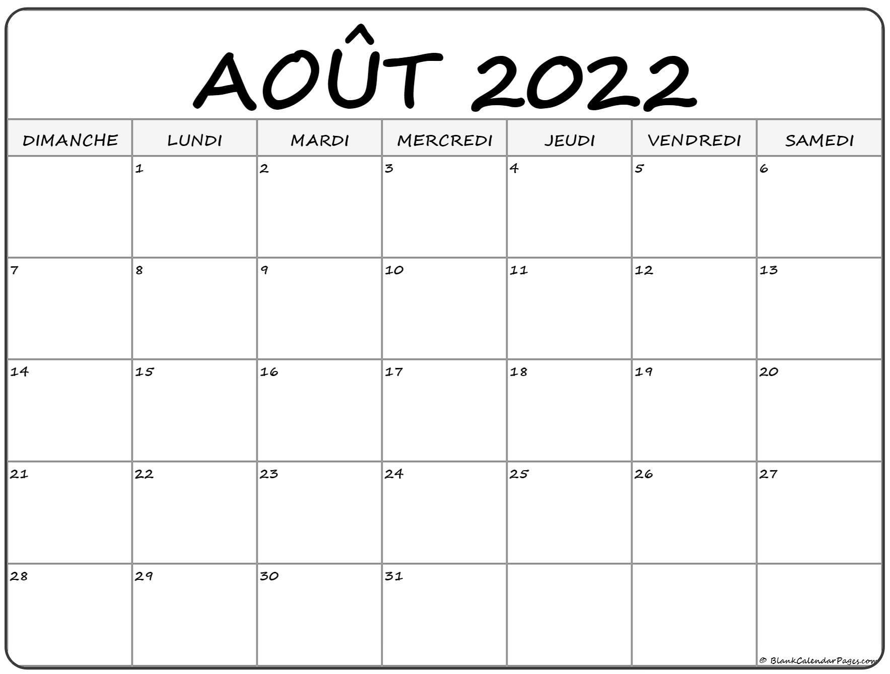 août 2022 calendrier gratuit