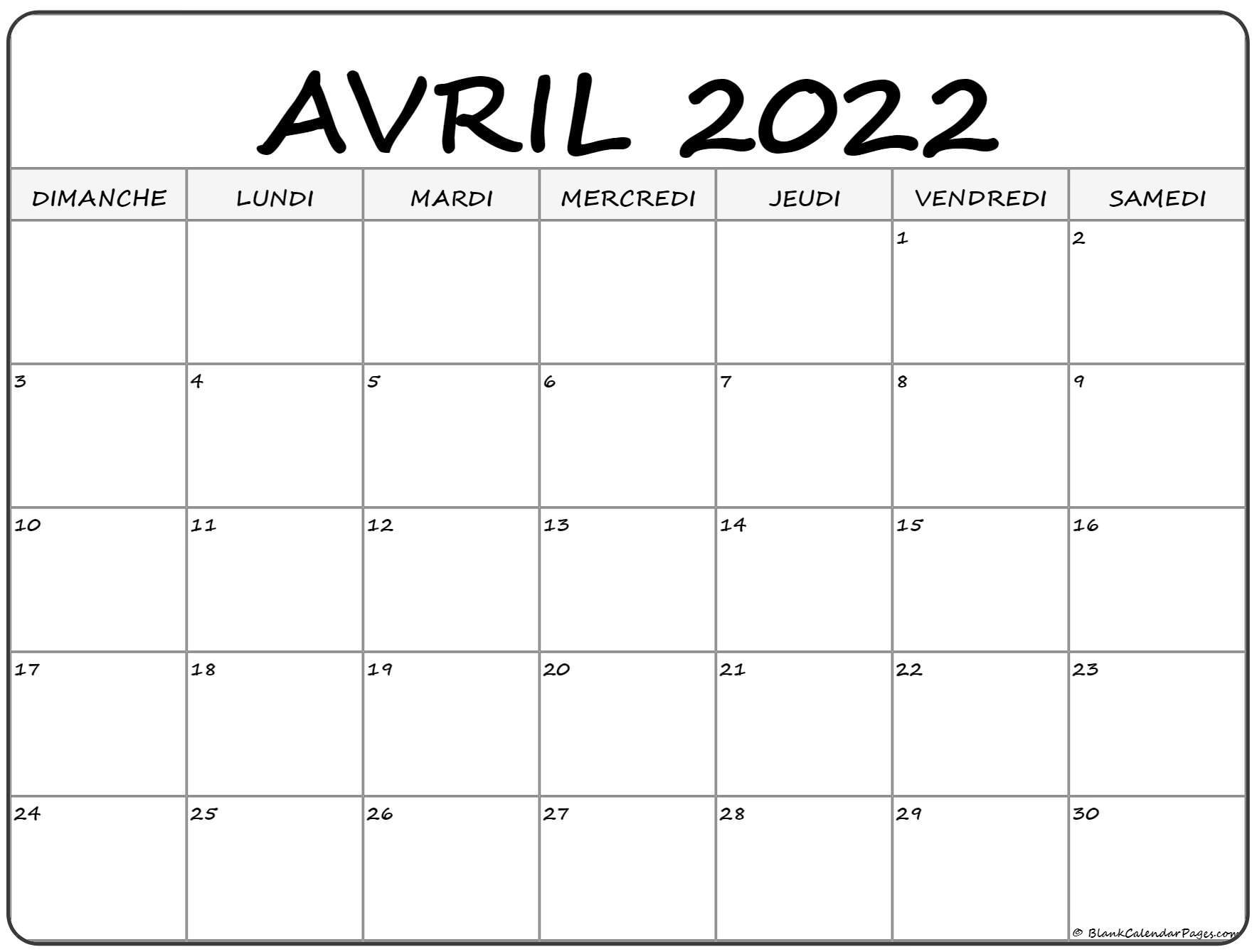 avril 2022 calendrier gratuit
