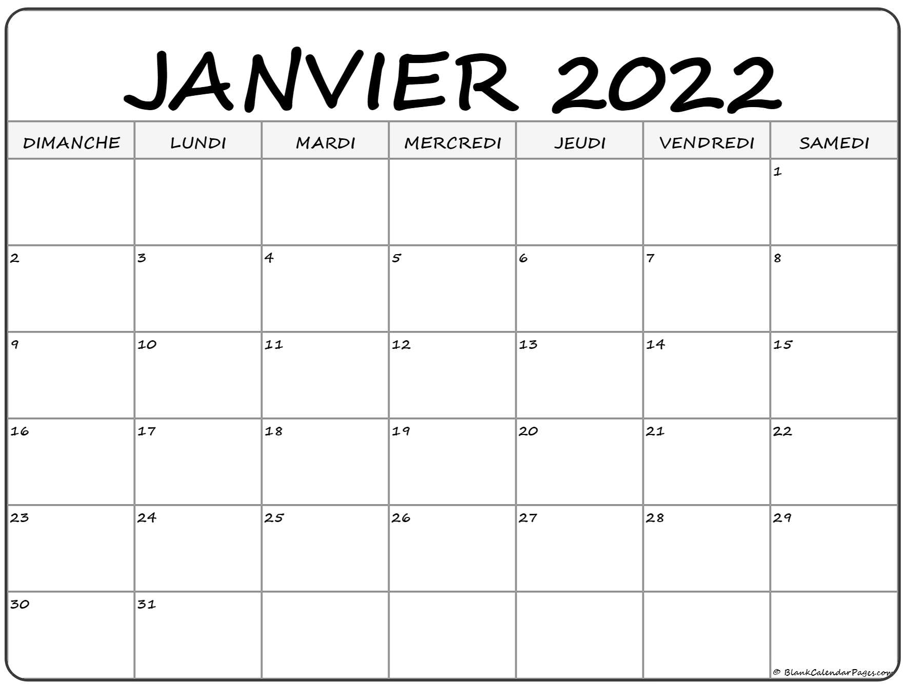 janvier 2022 calendrier imprimable | Calendrier gratuit