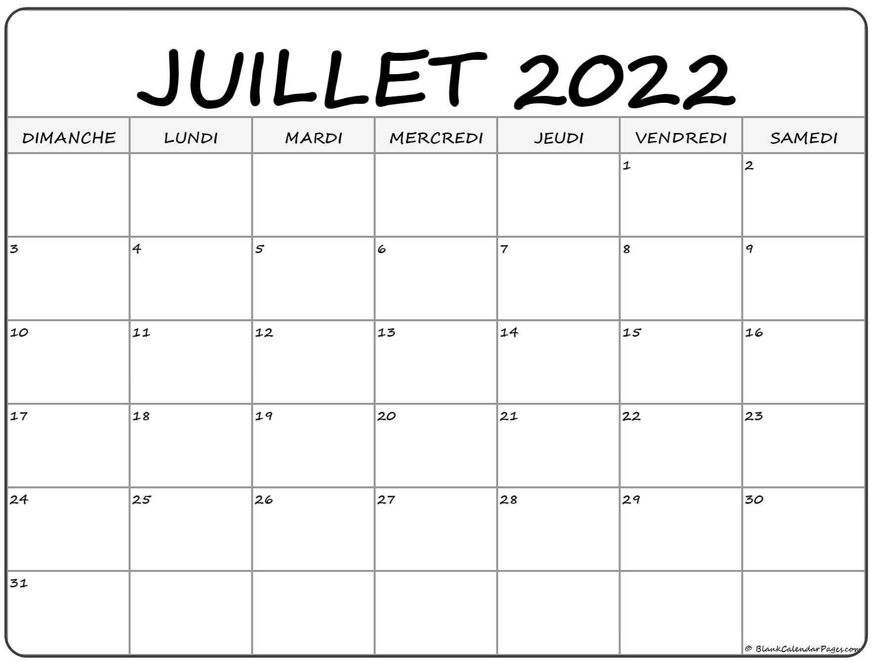 juillet 2022 calendrier imprimable | calendrier gratuit