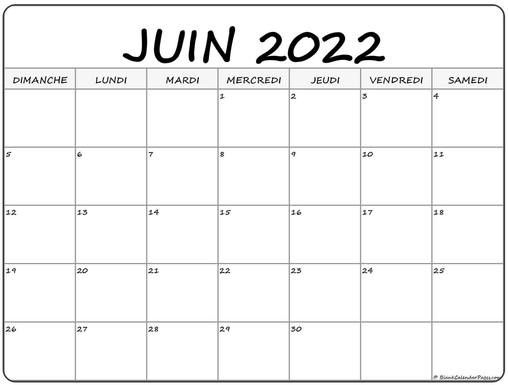 juin 2022 calendrier imprimable | calendrier gratuit