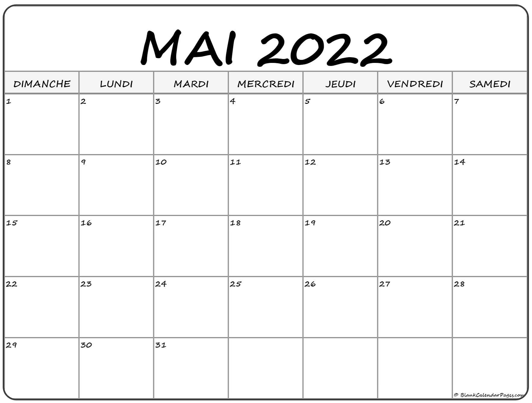 mai 2022 calendrier imprimable | calendrier gratuit