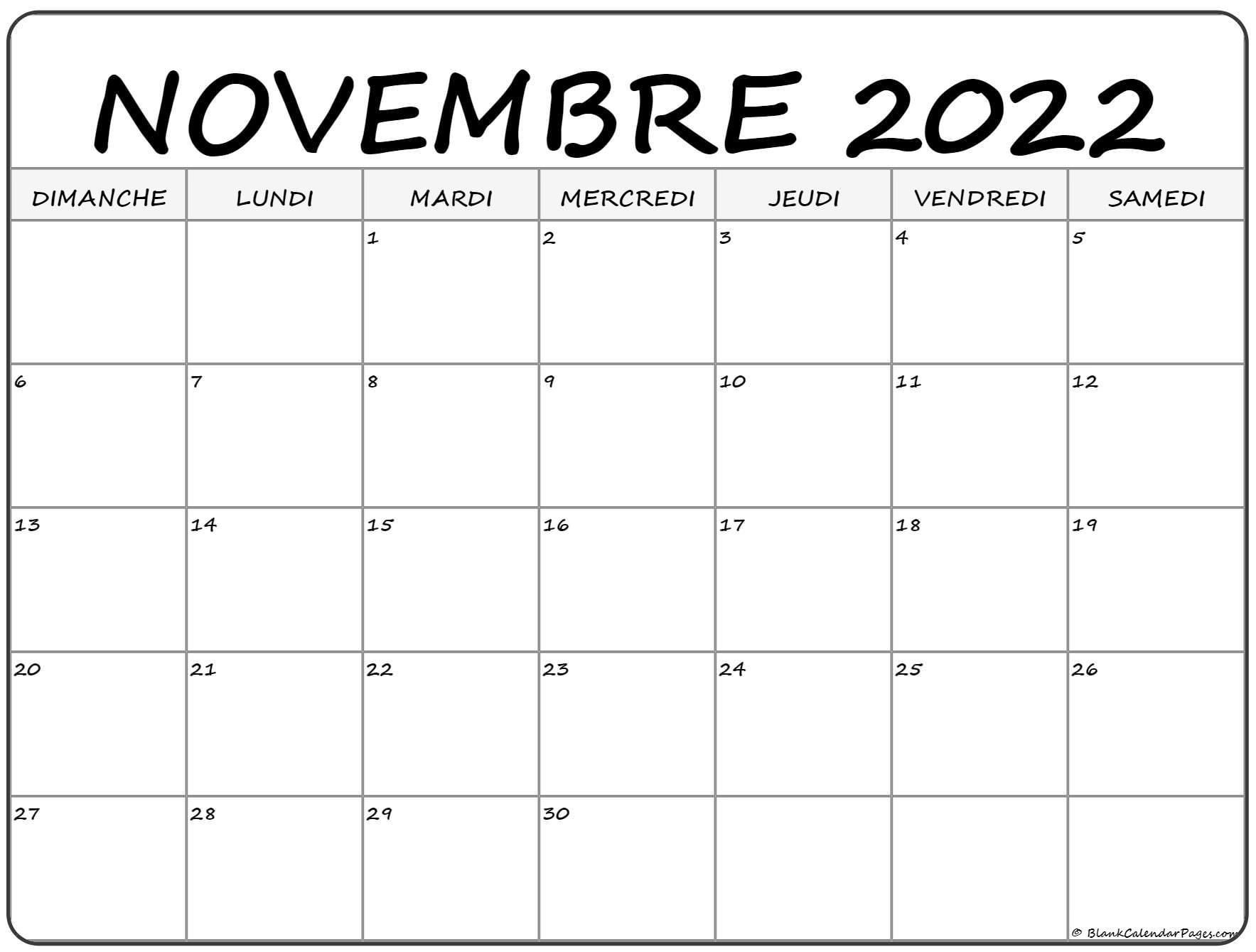 novembre 2022 calendrier gratuit