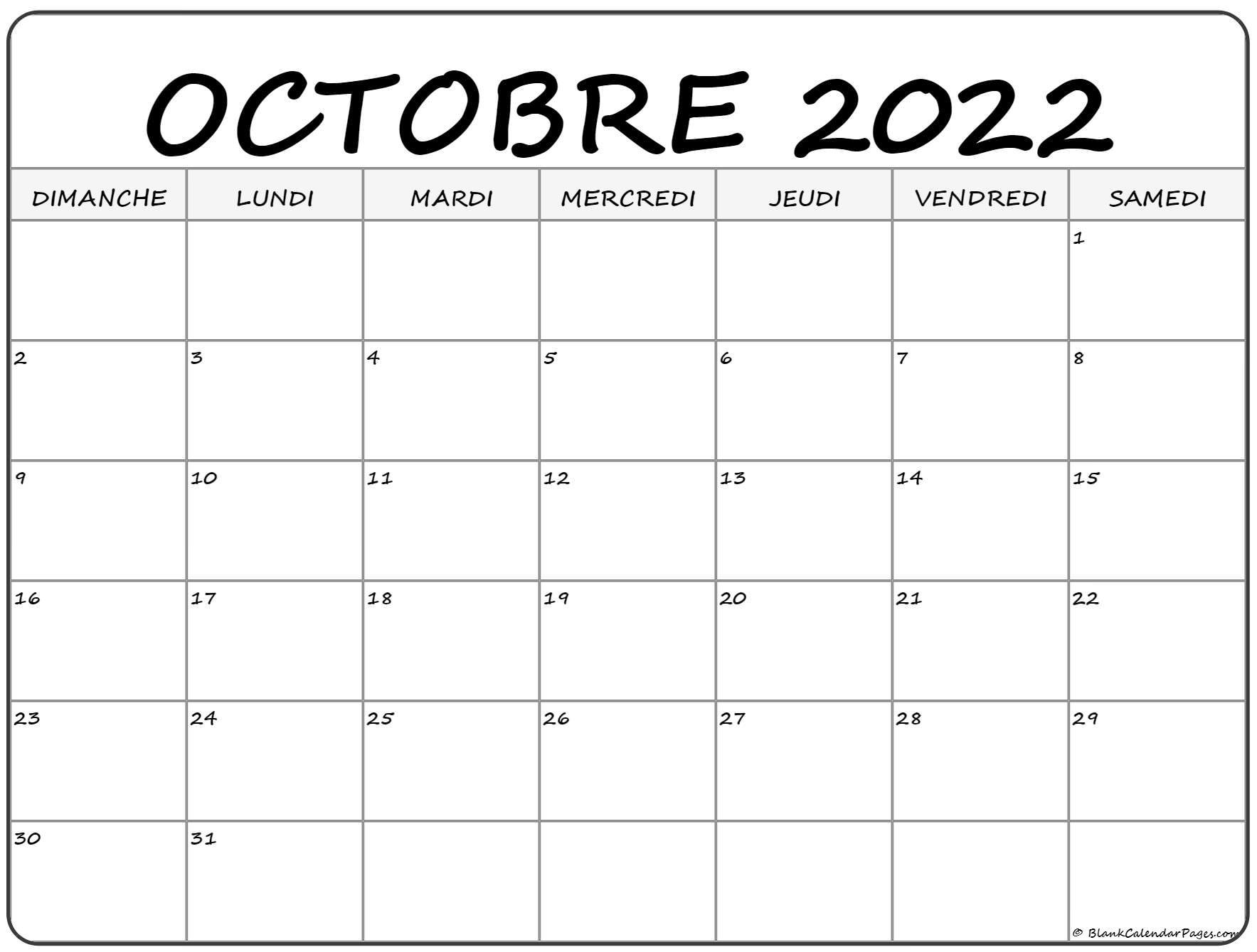 Calendrier 2022 Octobre octobre 2022 calendrier imprimable | Calendrier gratuit