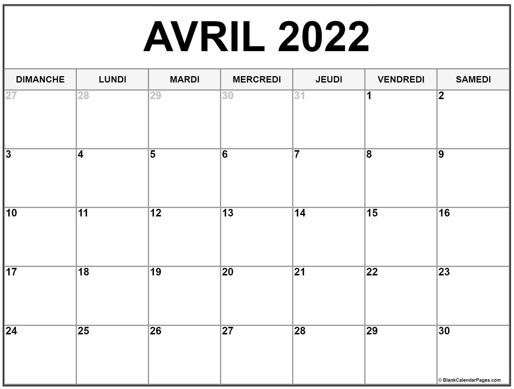 Calendrier Avril 2022 à Imprimer