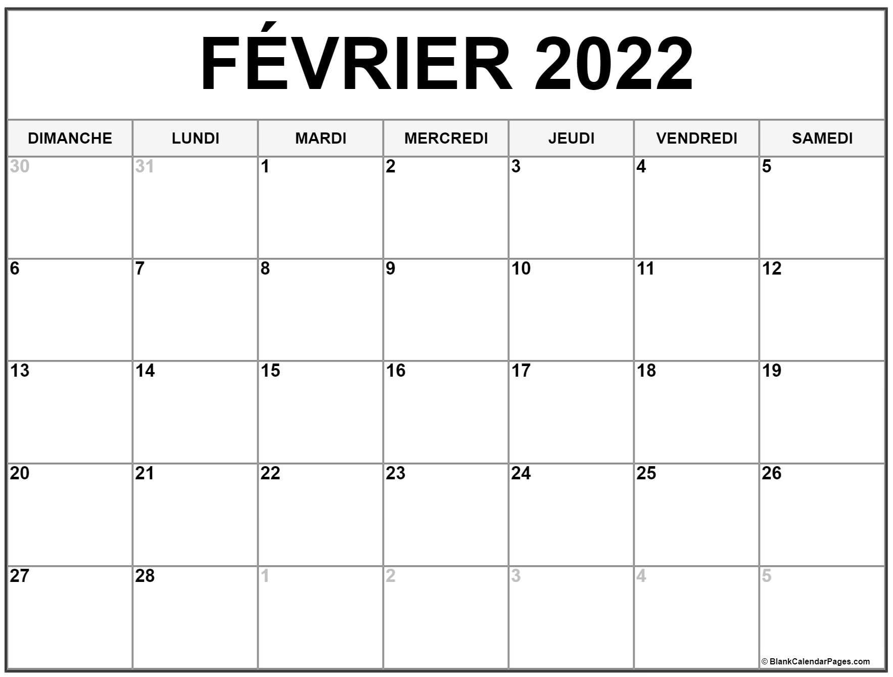Calendrier à Imprimer Février 2022 février 2022 calendrier imprimable | Calendrier gratuit