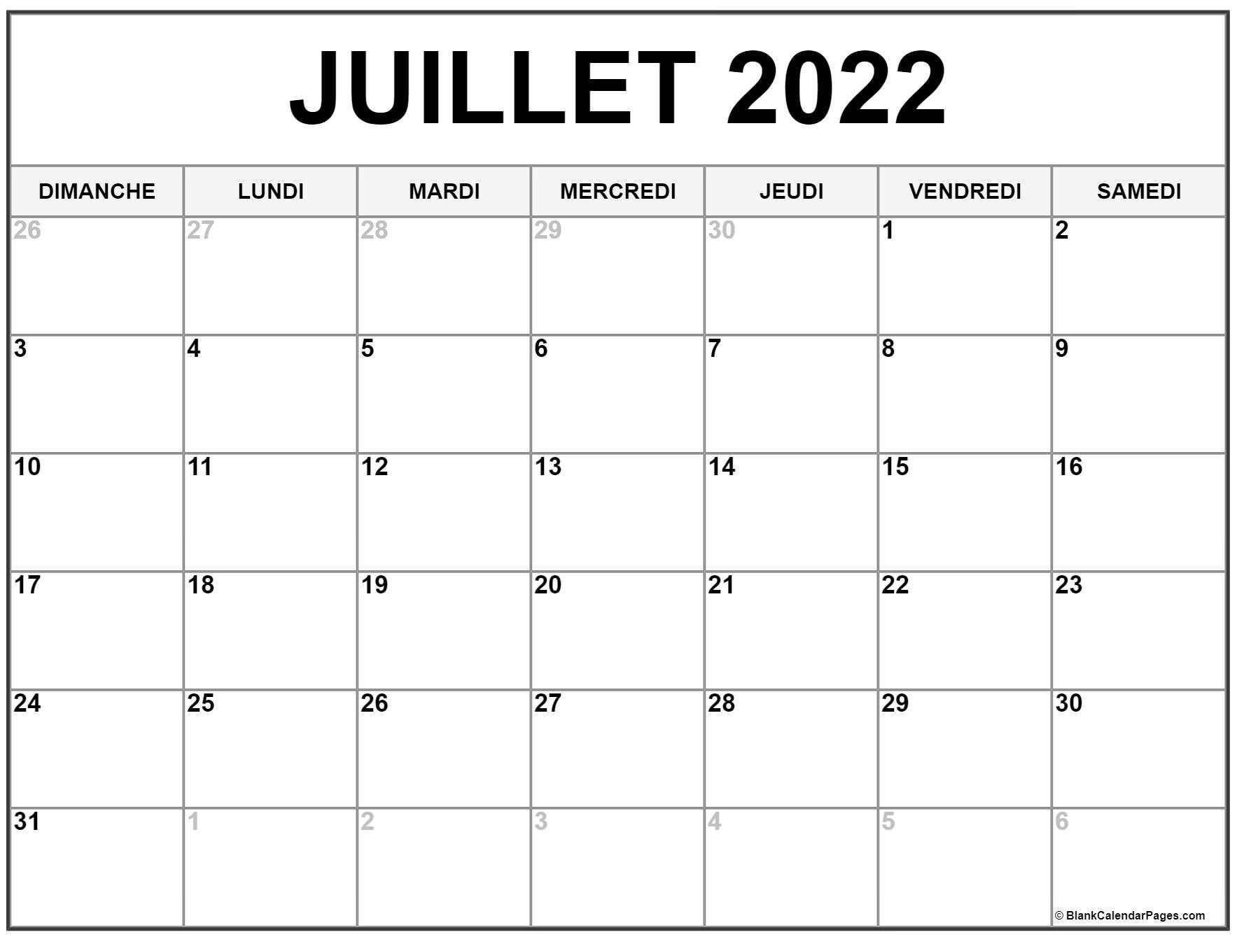 juillet 2022 calendrier imprimable   Calendrier gratuit