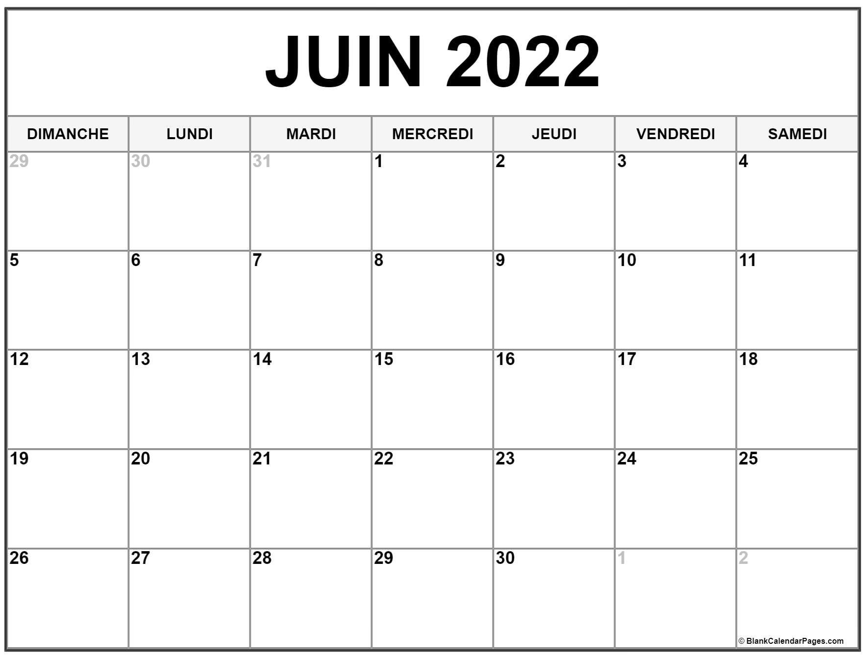 Calendrier 2022 Juin juin 2022 calendrier imprimable   Calendrier gratuit