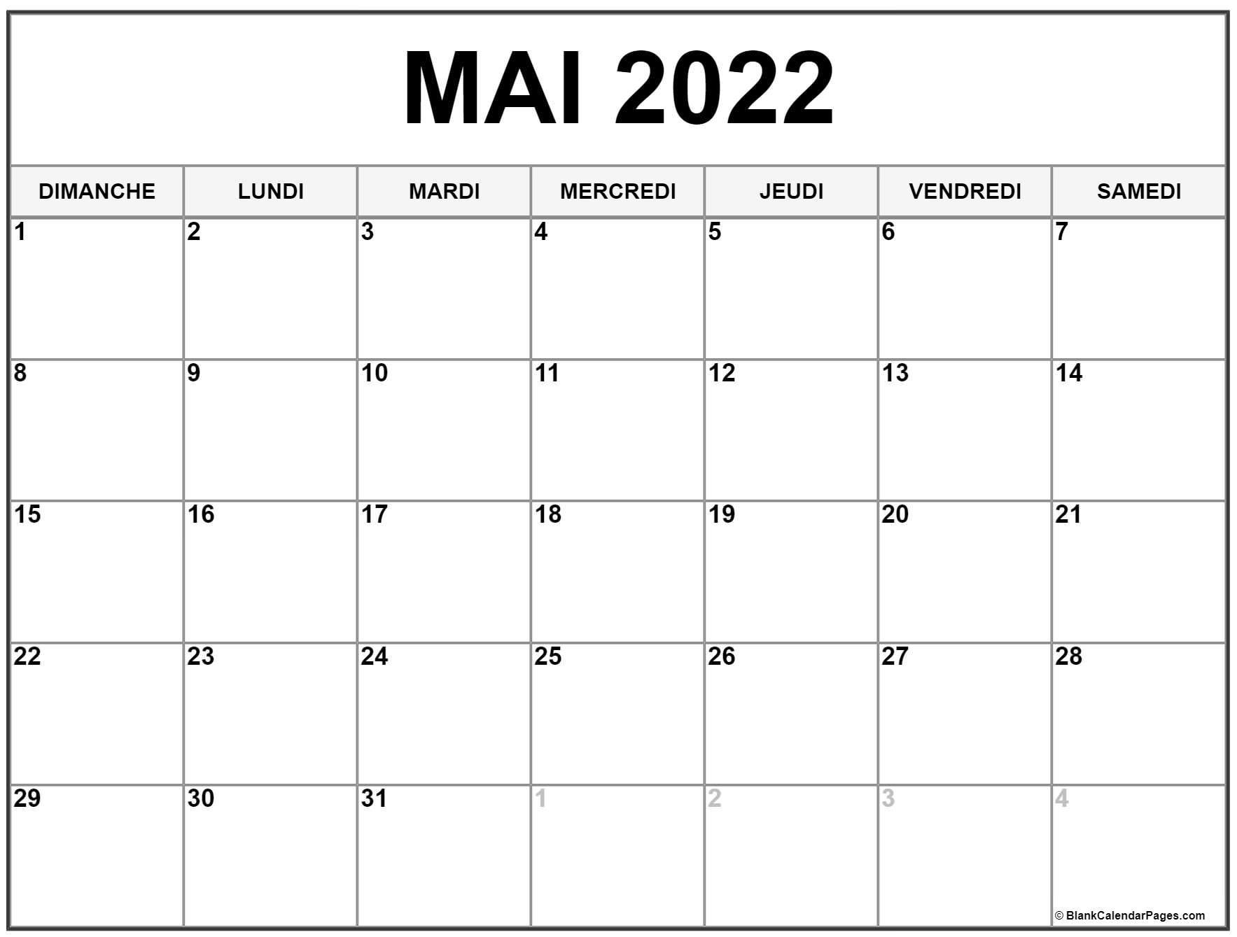 Calendrier 2022 Mois De Mai mai 2022 calendrier imprimable   Calendrier gratuit