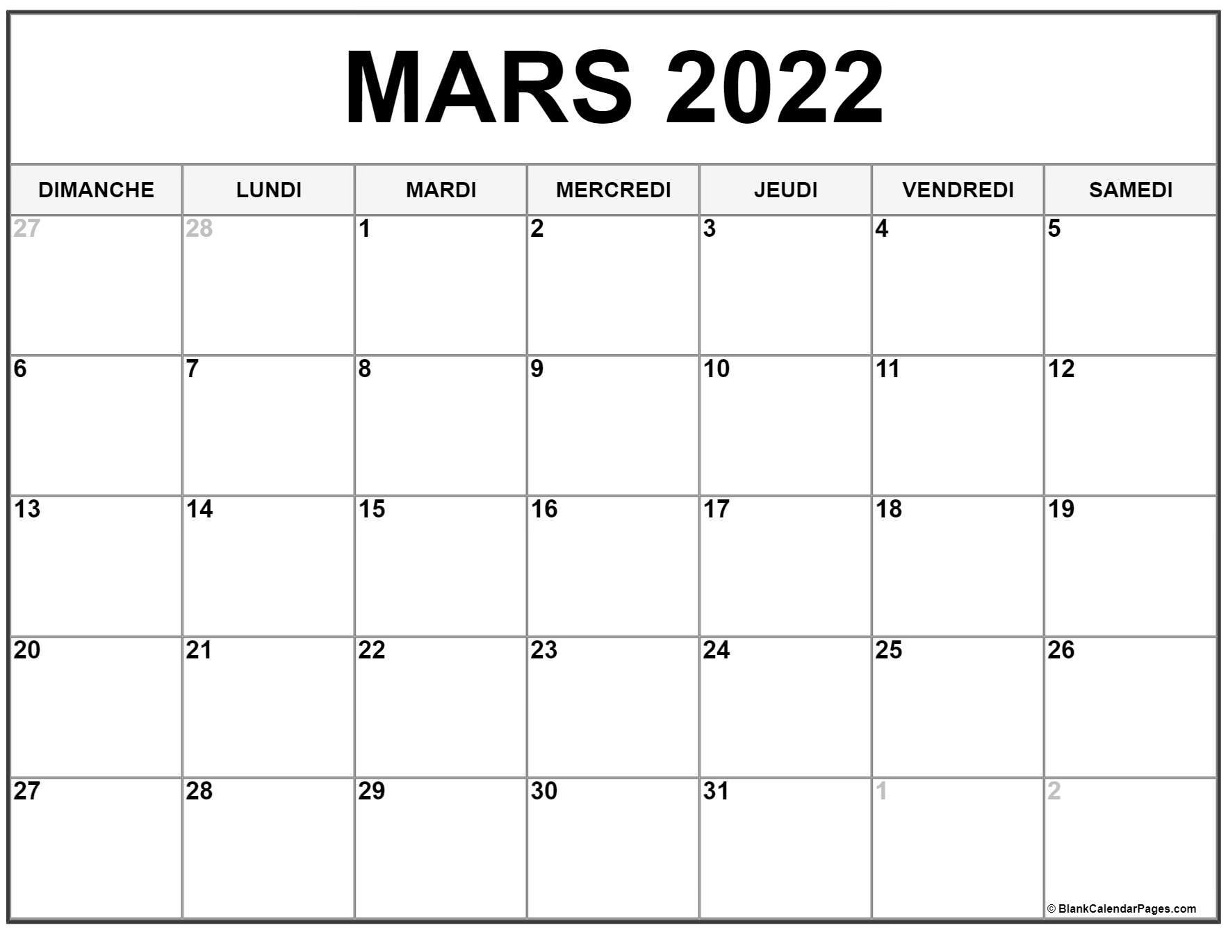 Calendrier Mars 2022 à Imprimer Gratuit mars 2022 calendrier imprimable | Calendrier gratuit