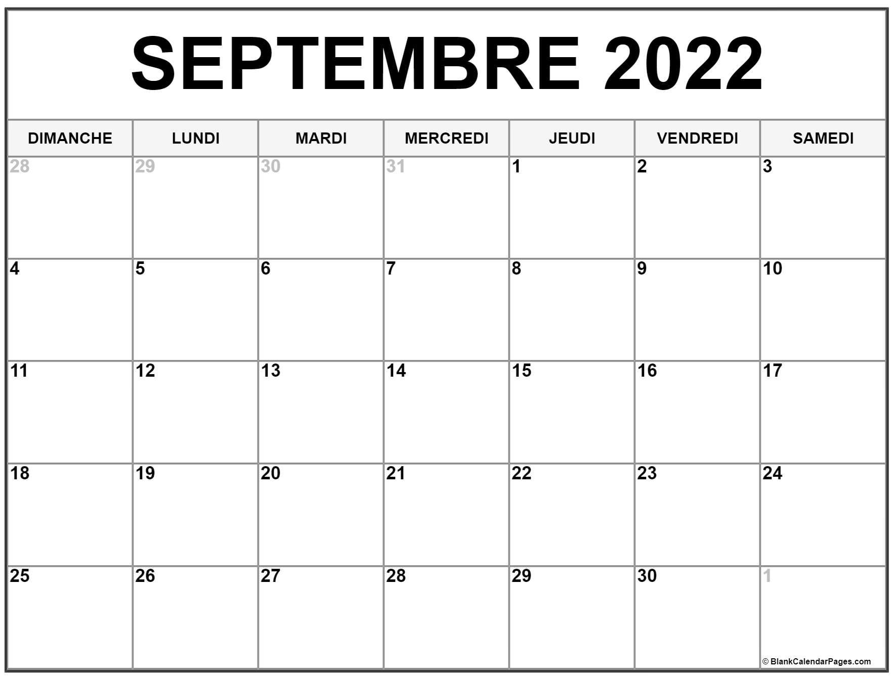 Calendrier Septembre 2022 à Imprimer Gratuit septembre 2022 calendrier imprimable | Calendrier gratuit
