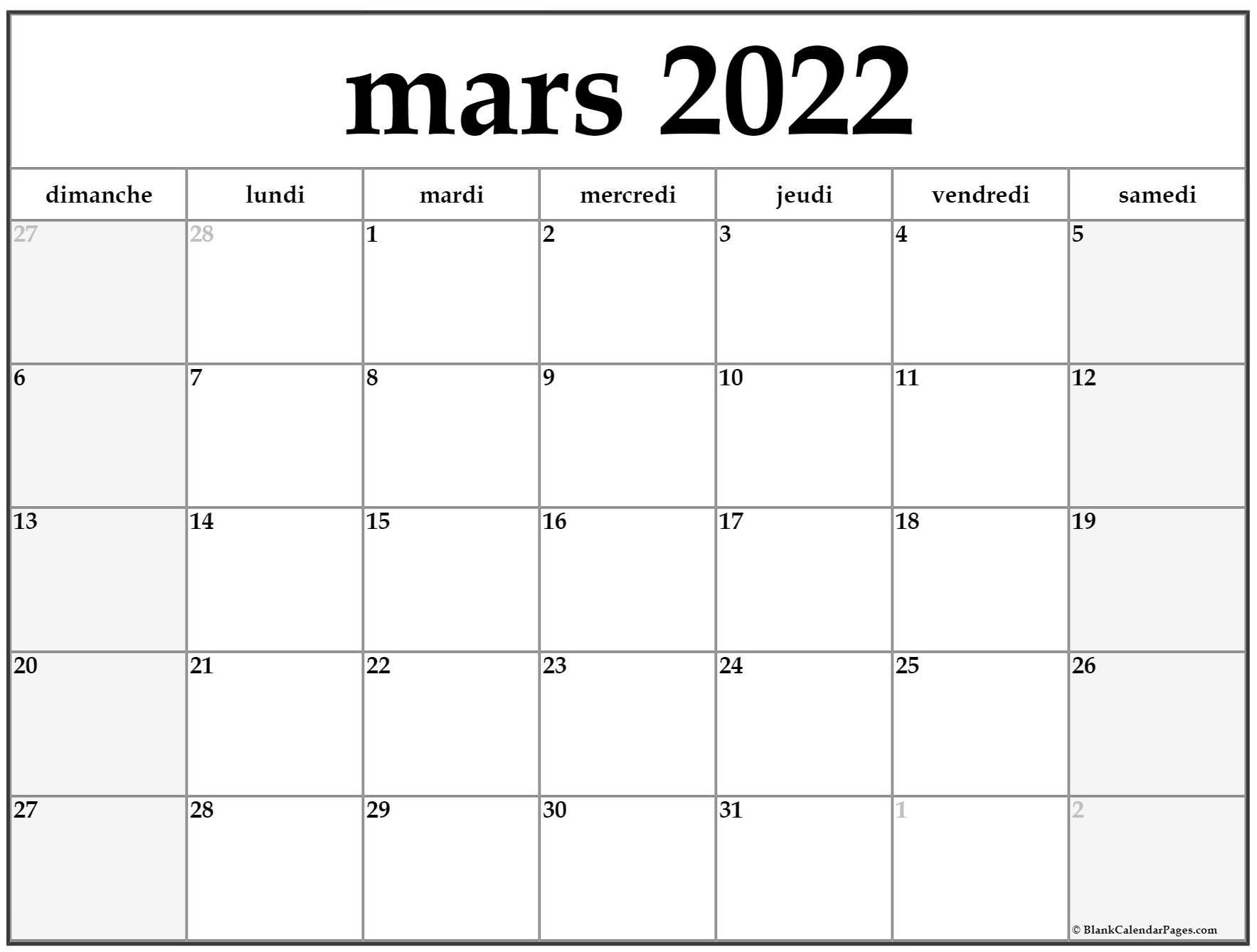 Calendrier Février Mars 2022 mars 2022 calendrier imprimable | Calendrier gratuit