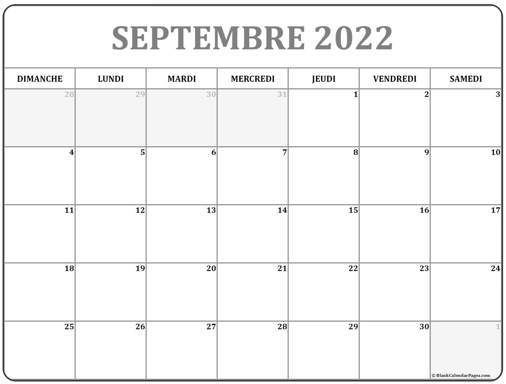 septembre 2022 calendrier imprimable | calendrier gratuit