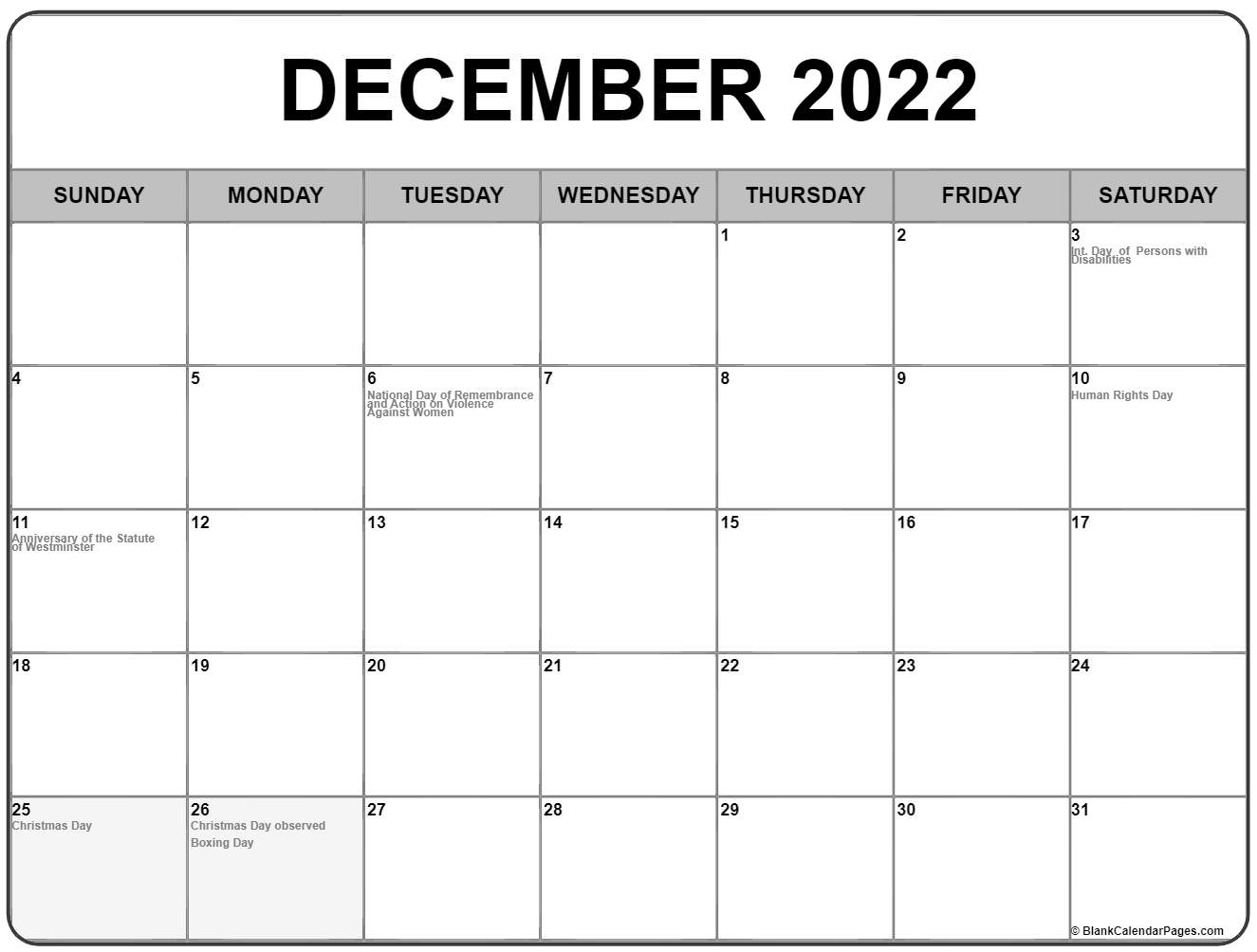 December 2018 calendar with Canadian holidays