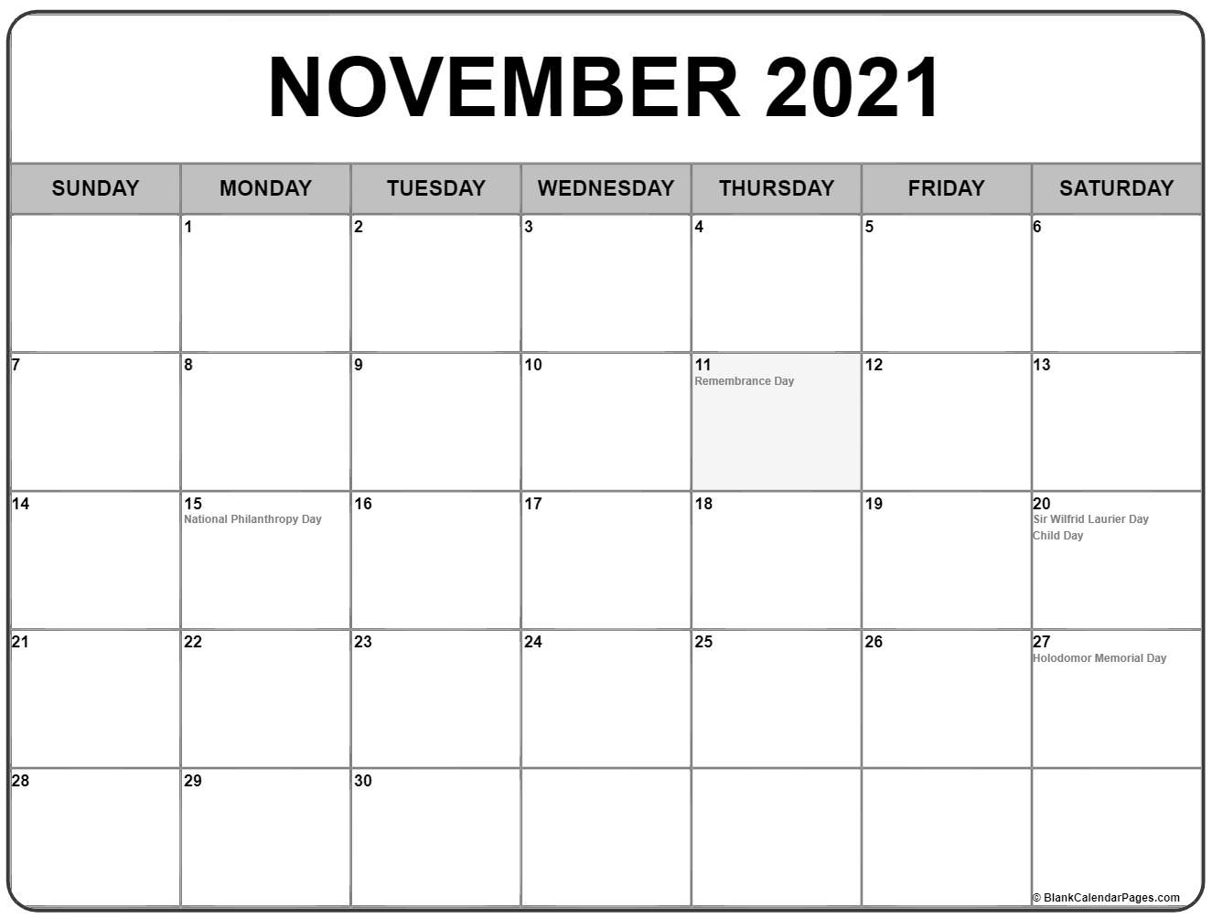 november 2018 calendar with canadian holidays