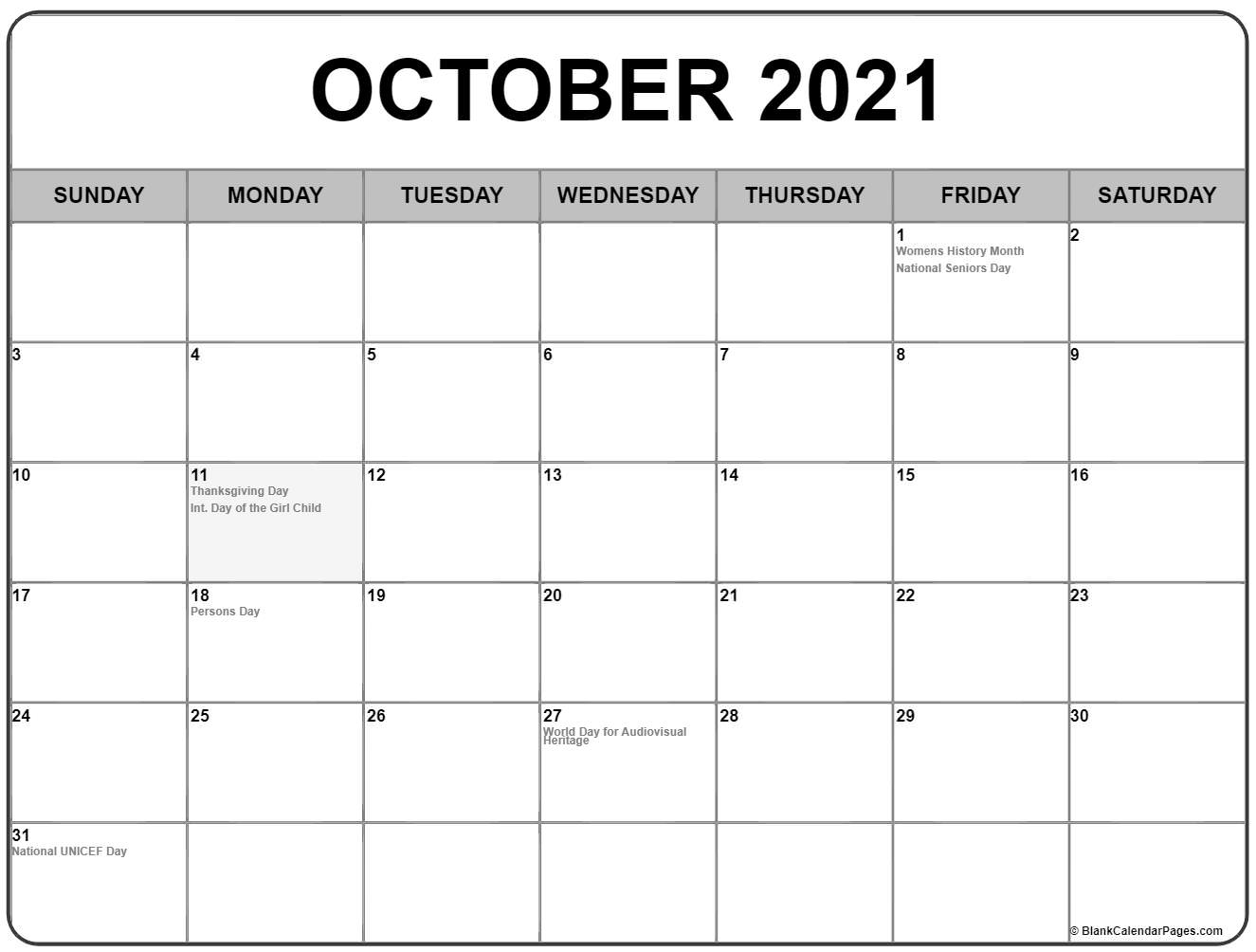 October 2019 Canadian holidays calendar