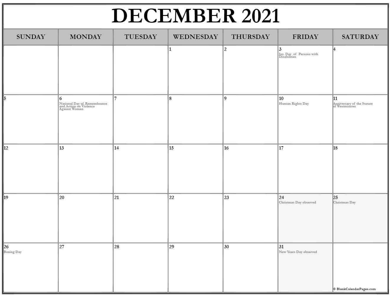 Month of December 2020 holidays Canada