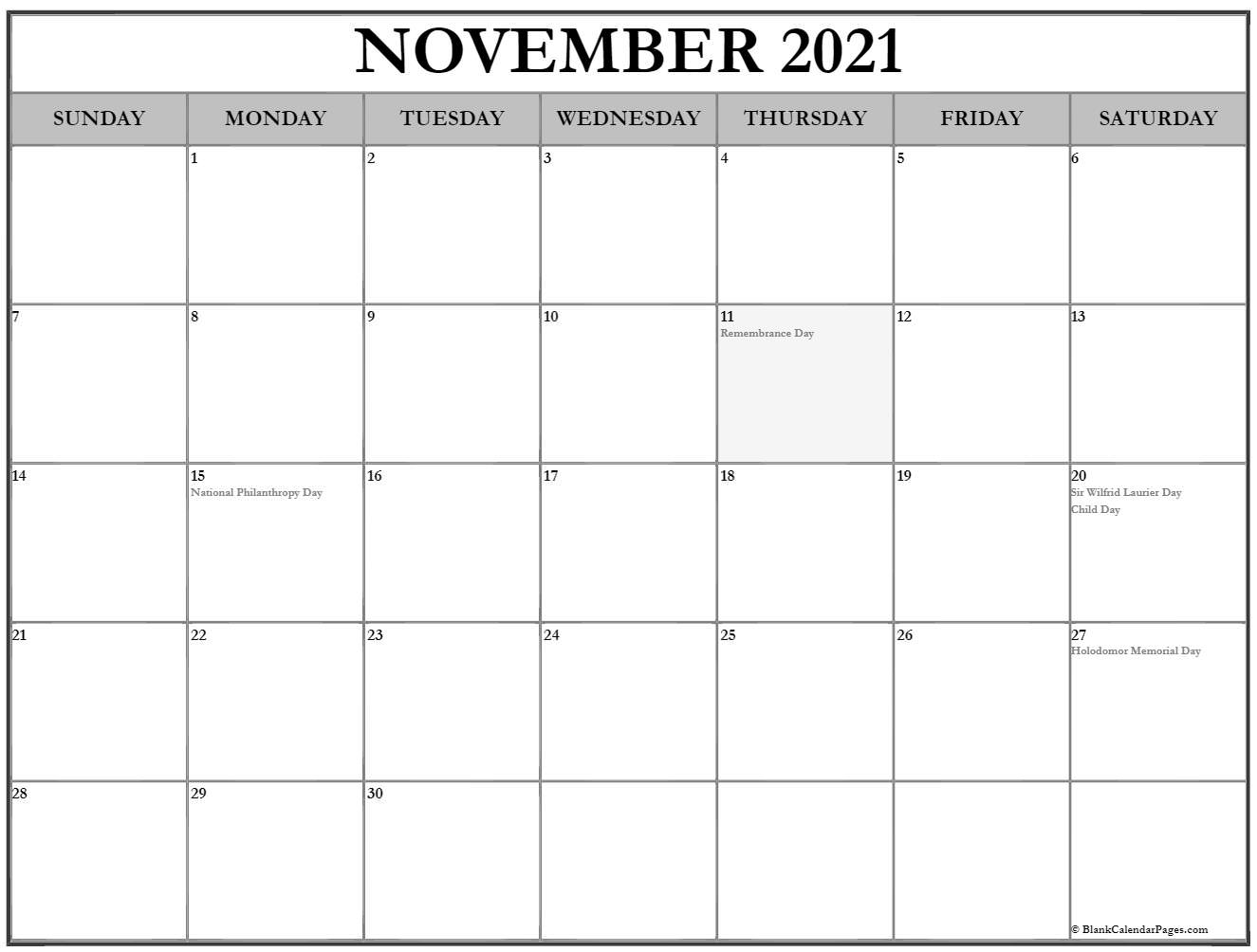 Month of November 2019 holidays Canada