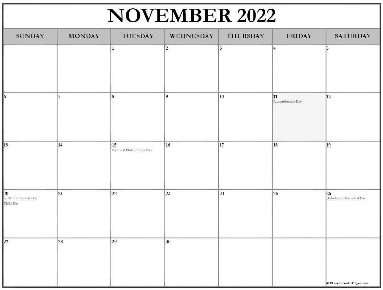 Month of November 2020 holidays Canada