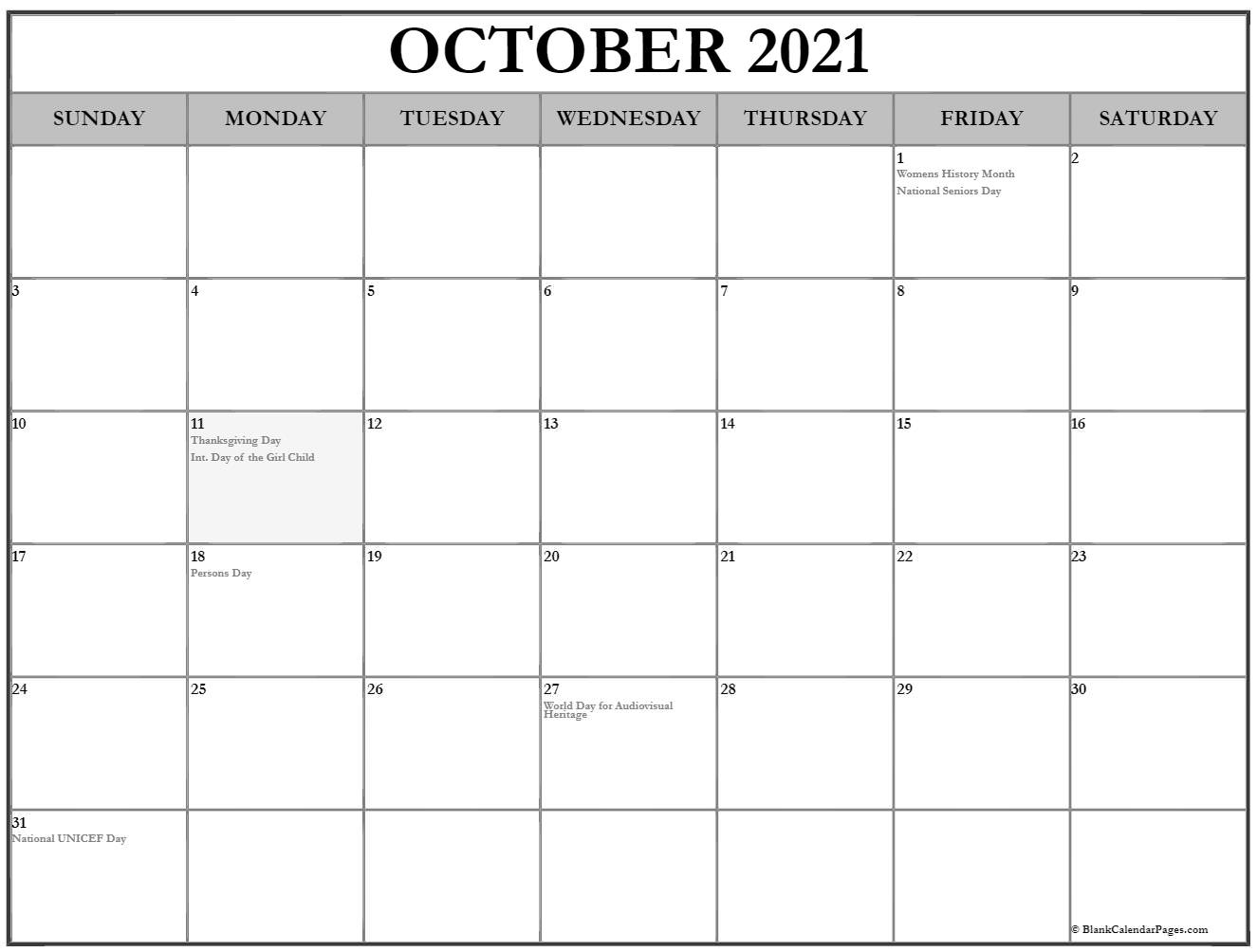 October 2018 calendar with holidays Canada