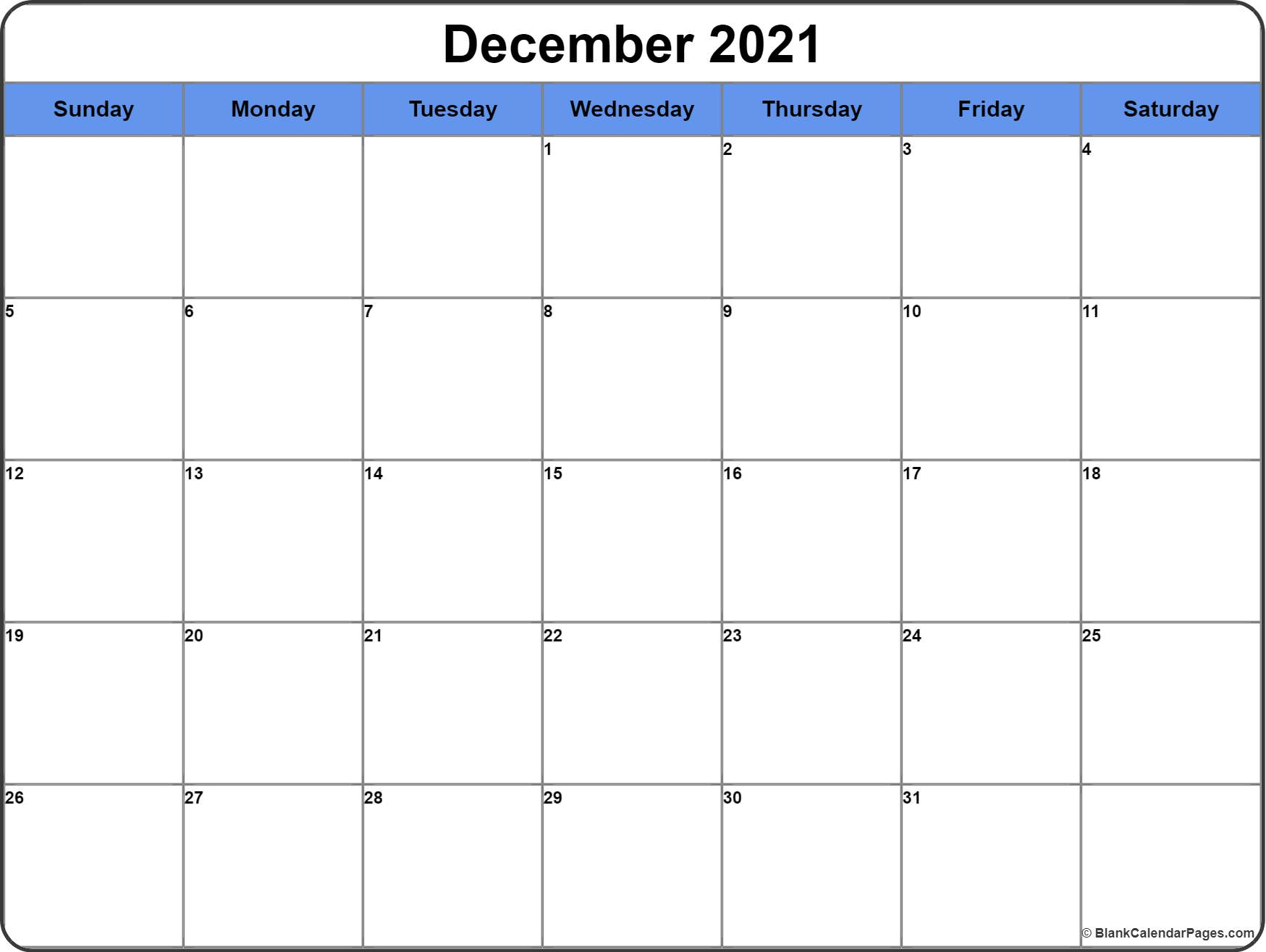 December 2016 free printable calendar dark Blue