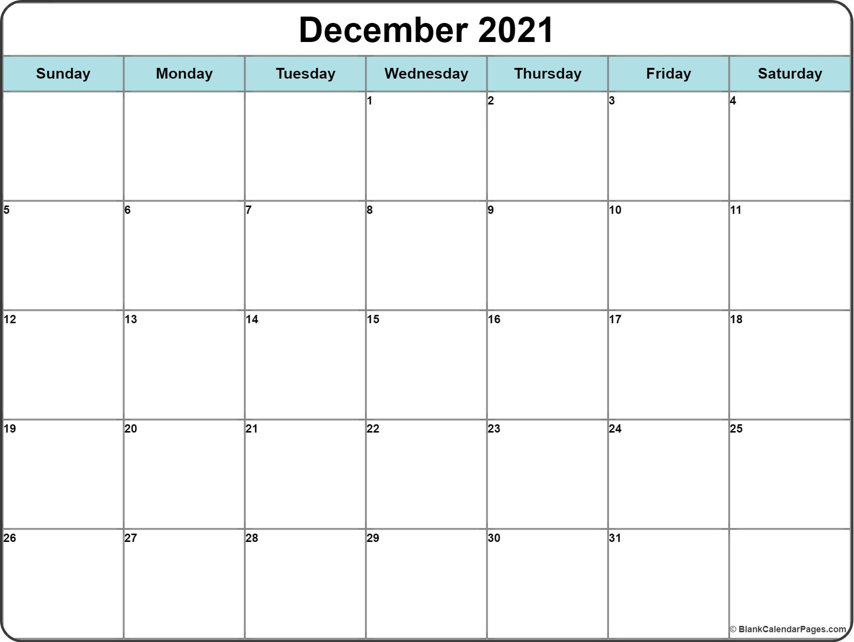 December 2016 free printable calendar light Blue