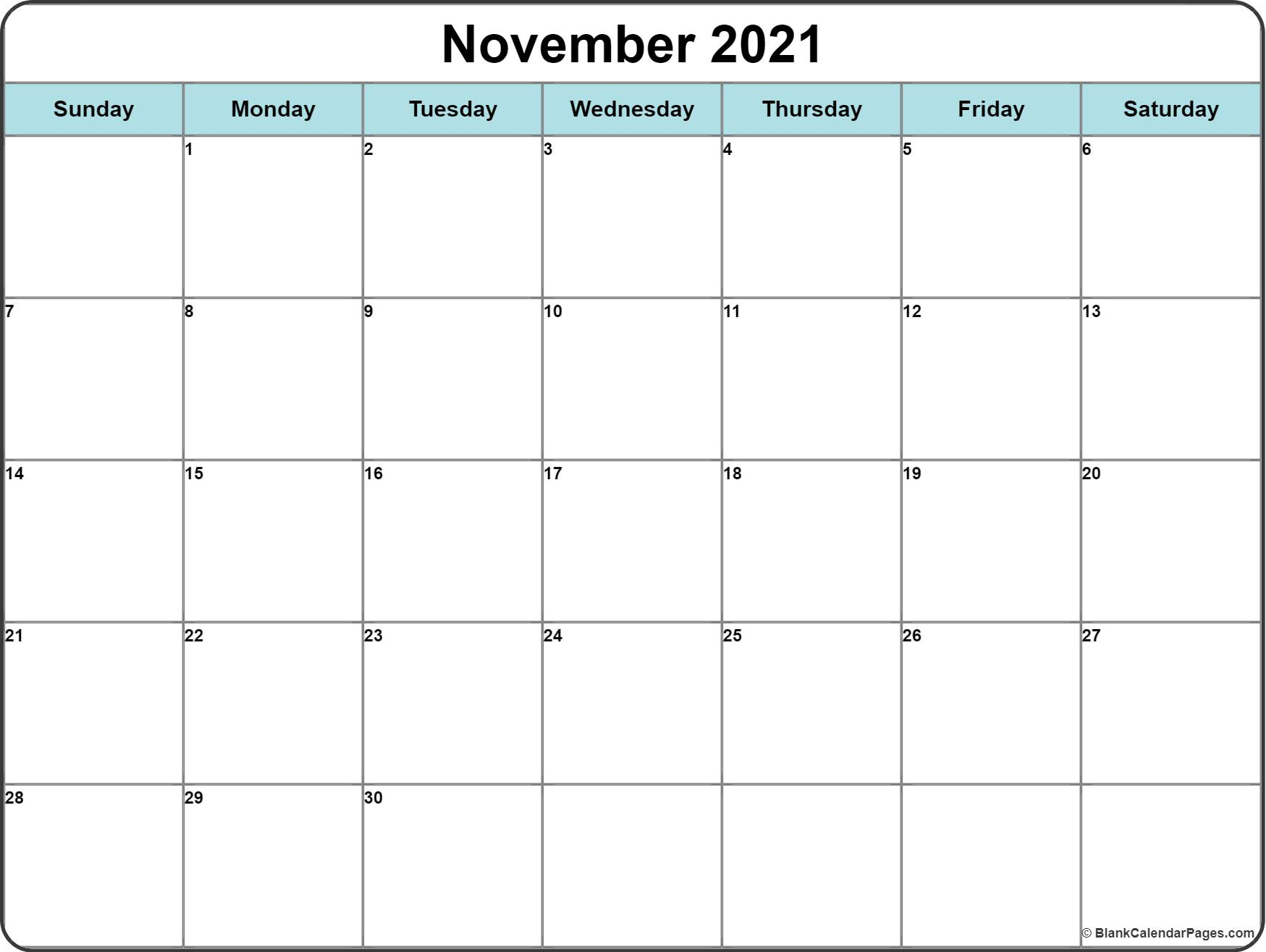 picture about Free Printable Nov Calendar referred to as November 2019 calendar totally free printable month-to-month calendars