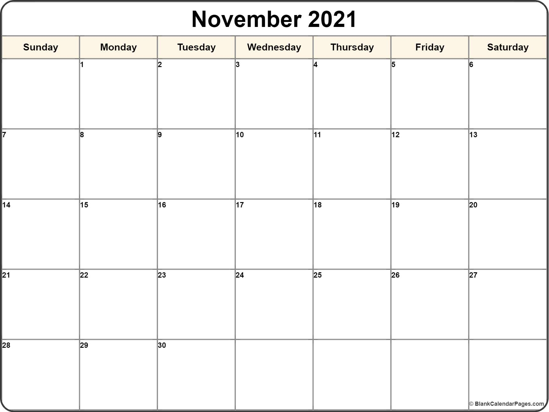November 2018 Calendar Free Printable Monthly Calendars