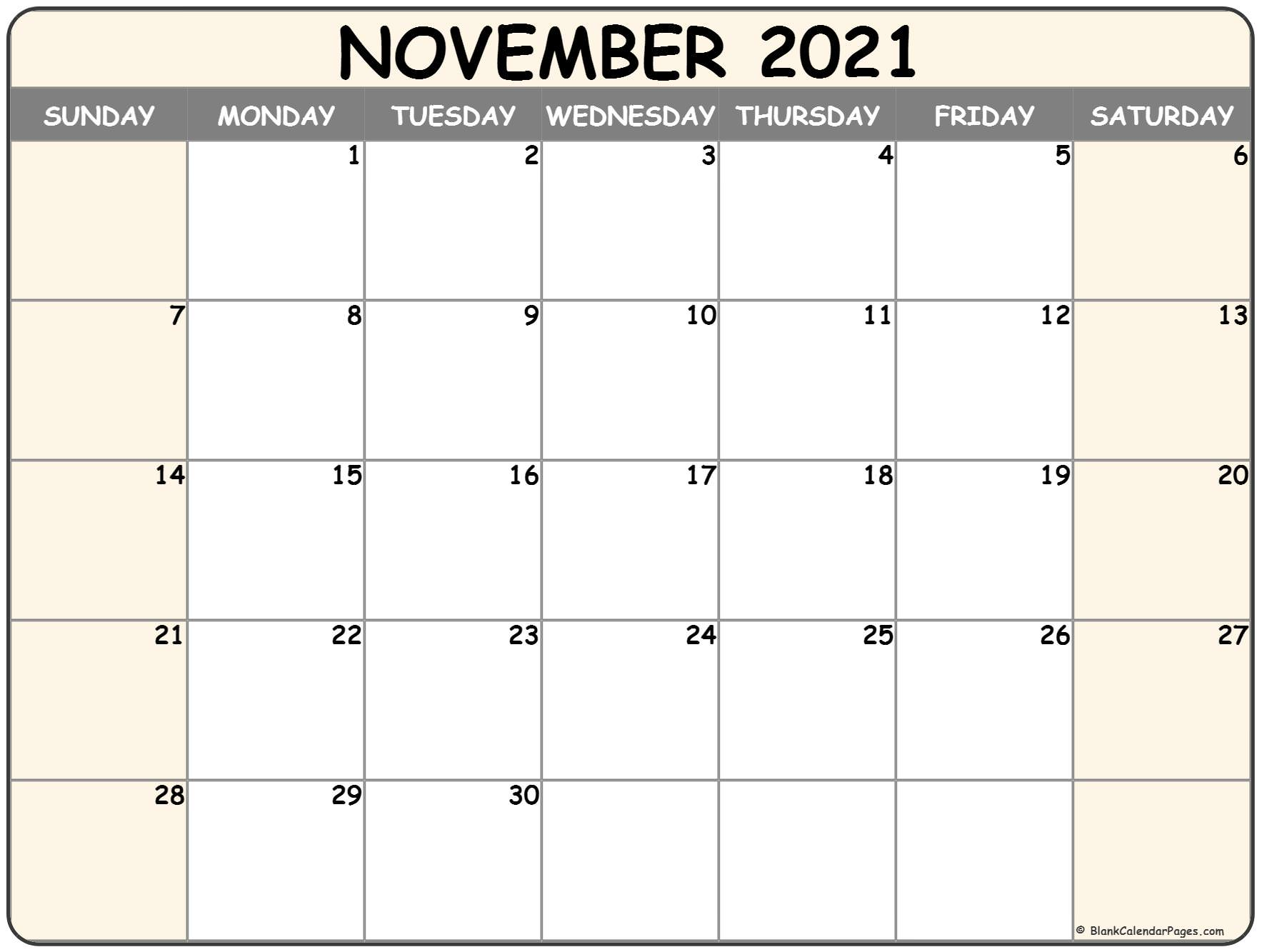 This is a picture of Unusual Printable November 2020 Calendars
