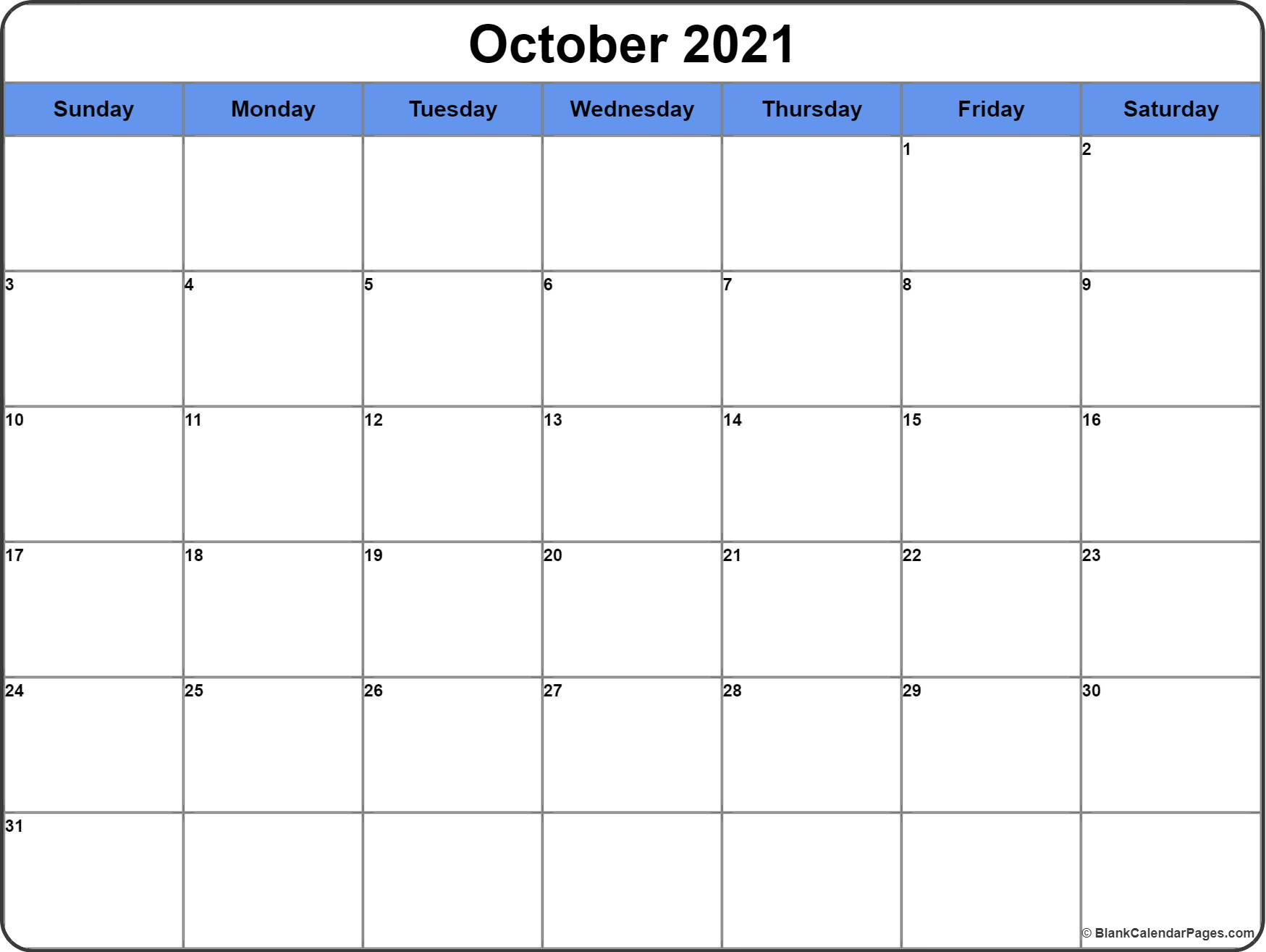 October 2017 calendar printable free download