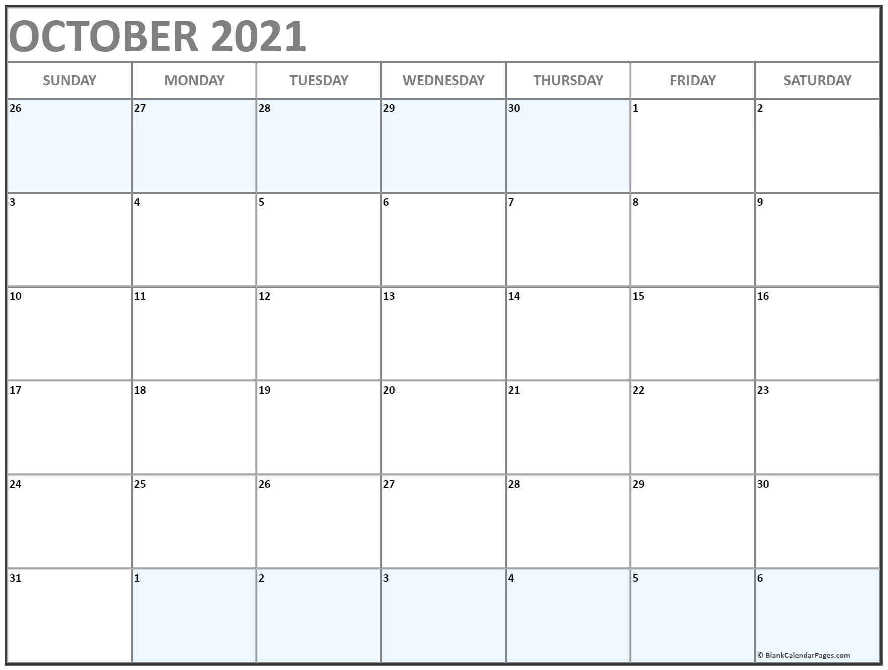 October 2018 blank template