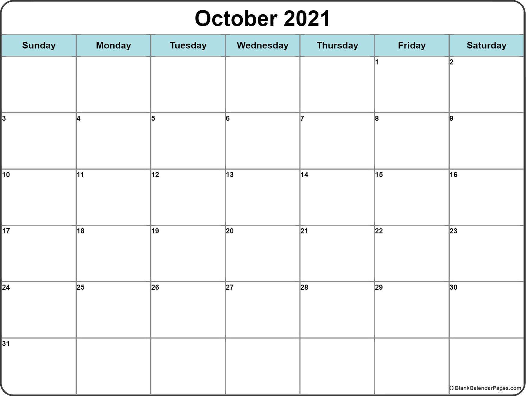 October 2019 printable template