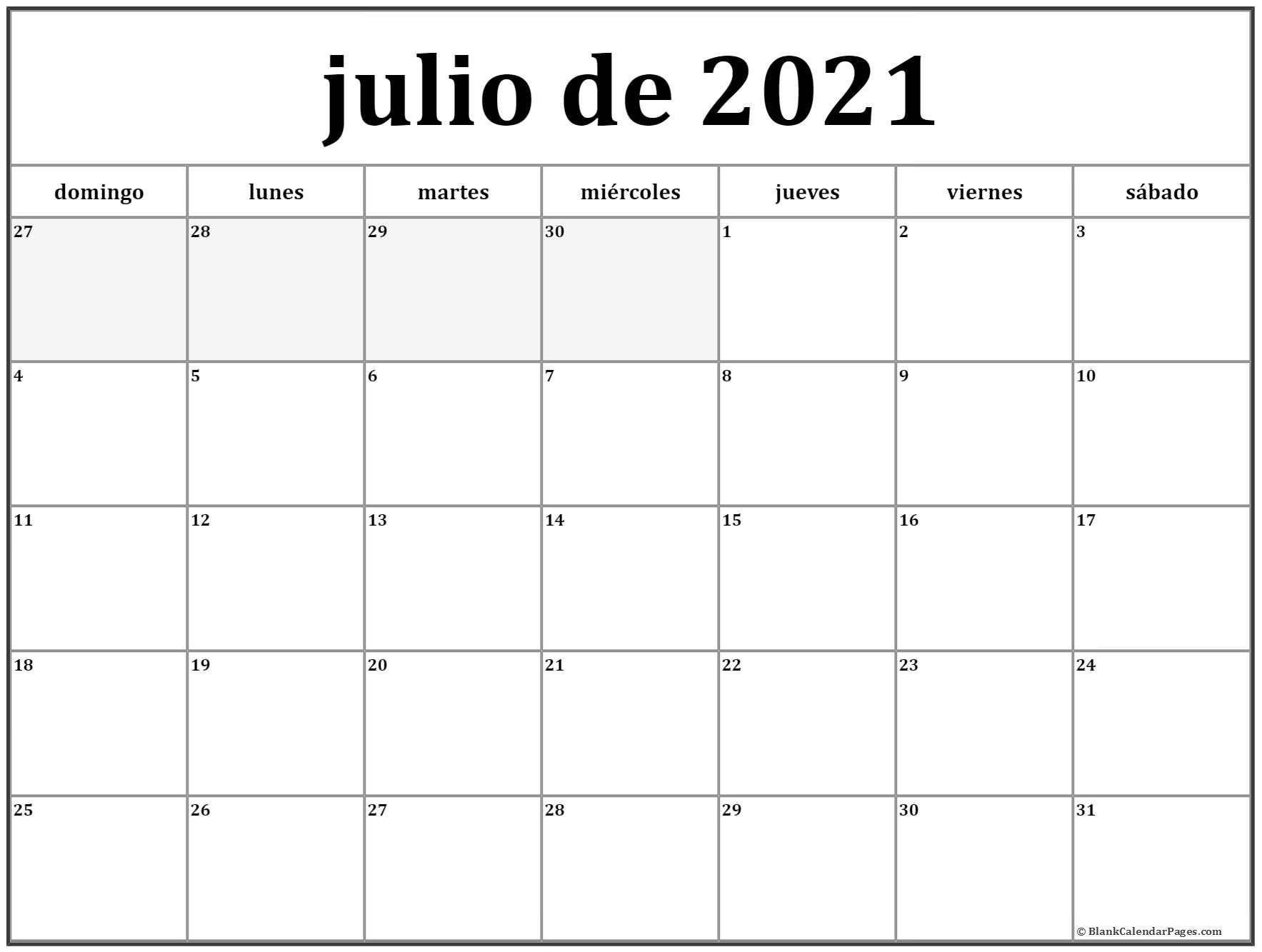 julio de 2019 calendario imprimible