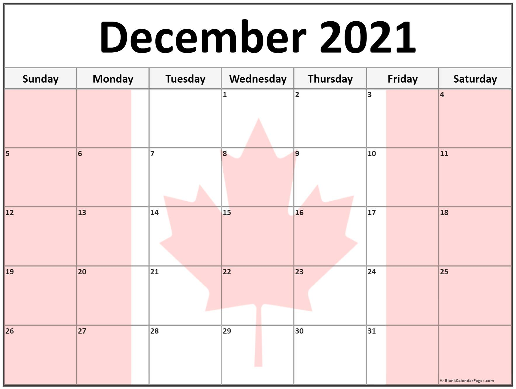 December 2020 Canada flag monthly calendar printout