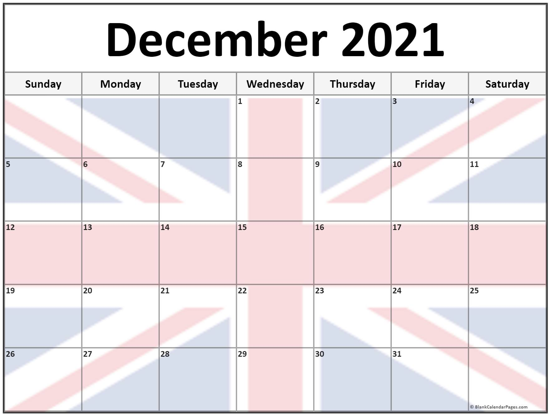 December 2021 UK flag picture calendar
