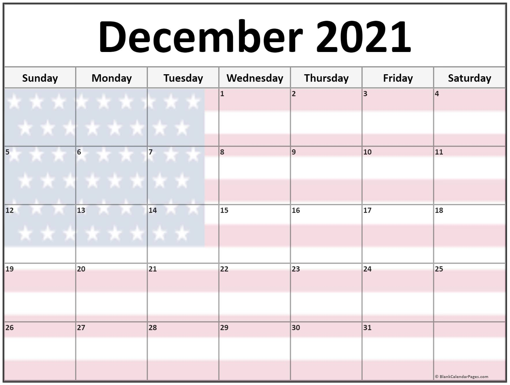 December 2021 USA flag monthly calendar