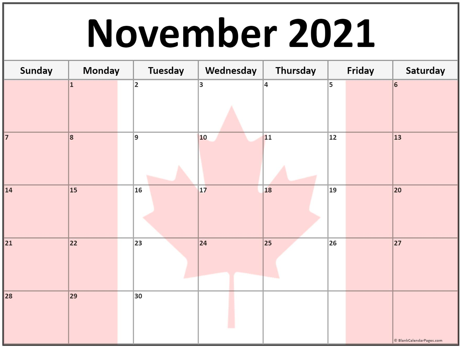 November 2020 Canada flag monthly calendar printout