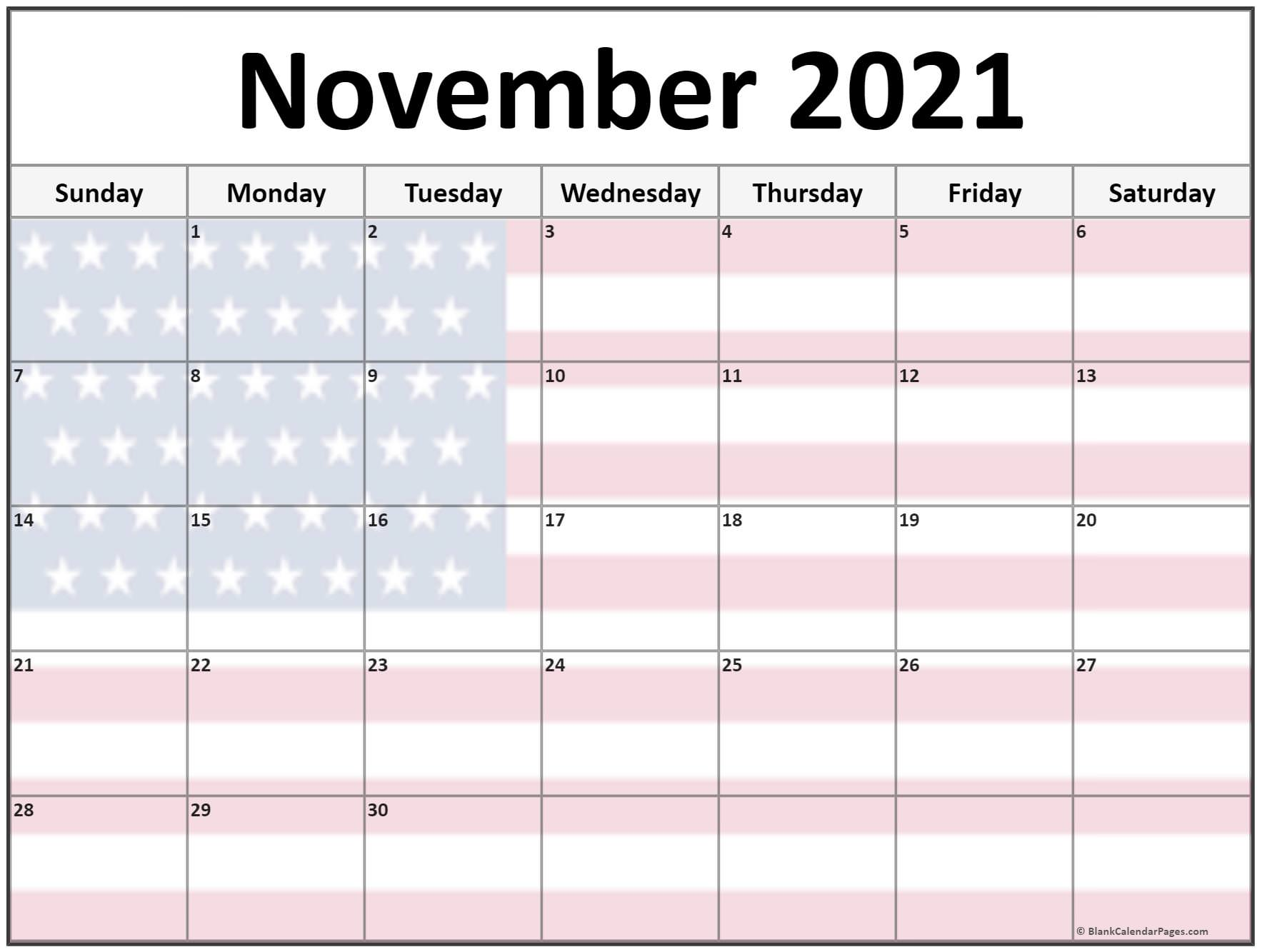 November 2021 USA flag monthly calendar