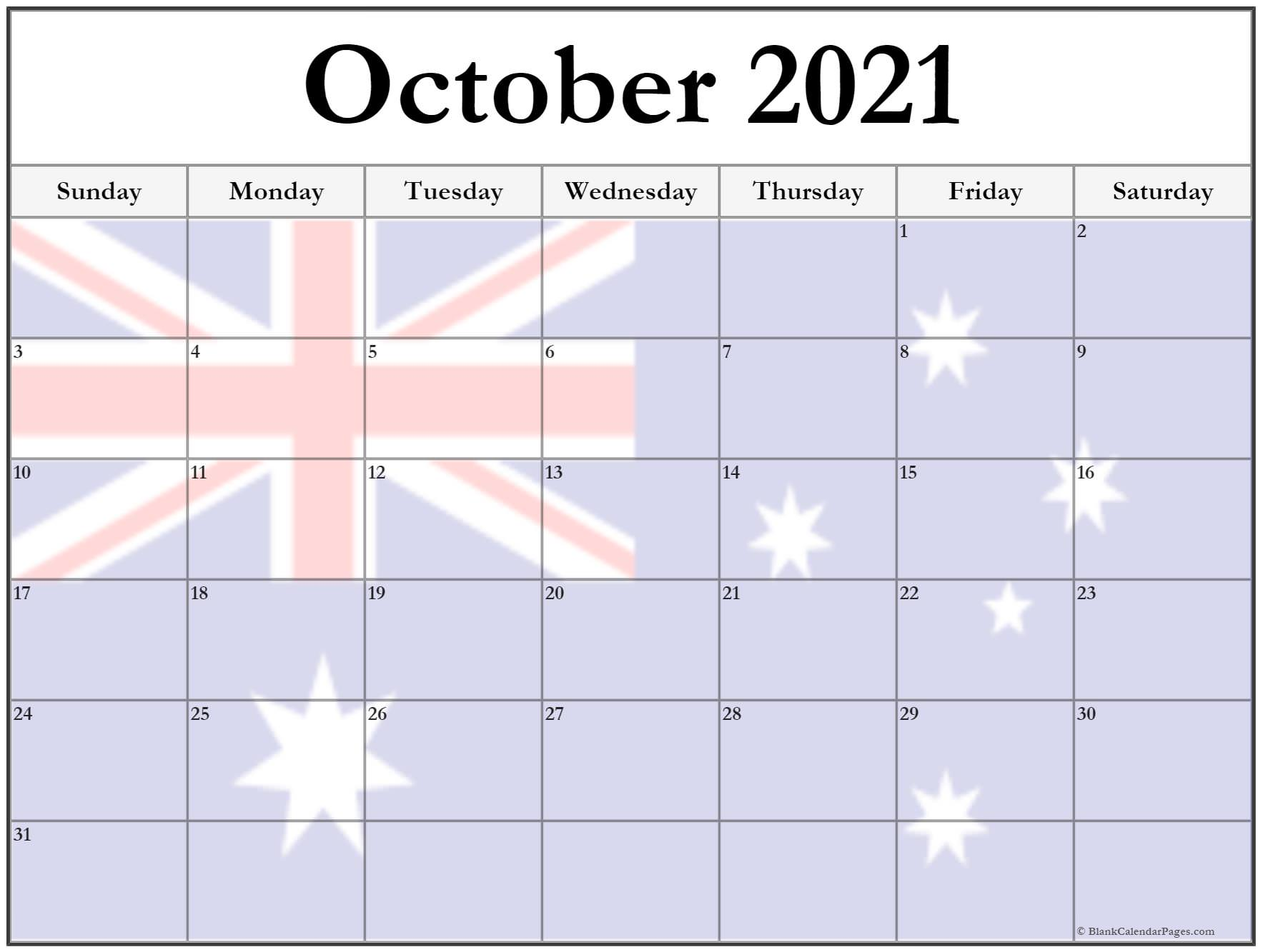 October 2020 Australia flag printable calendar